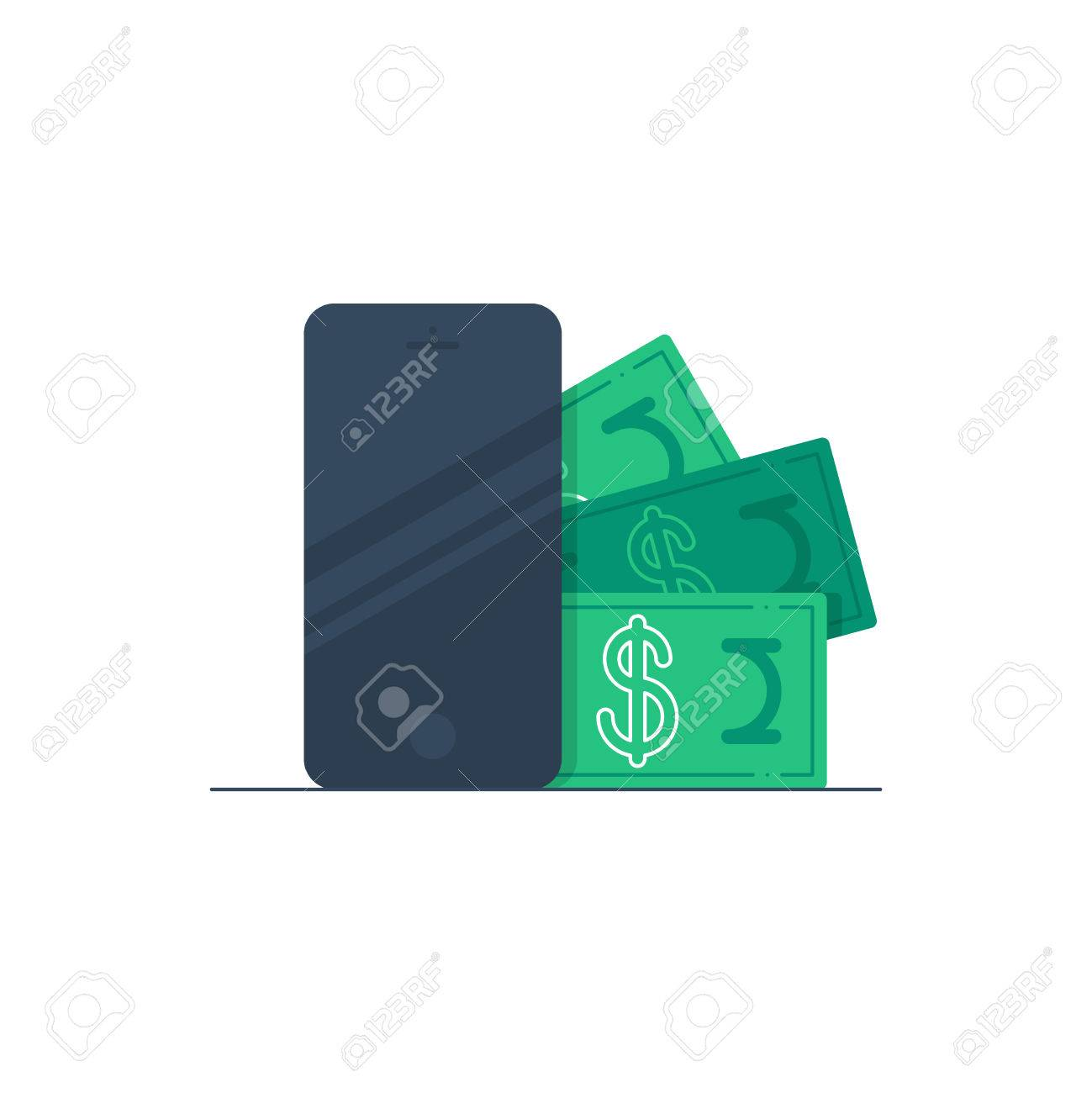 Bonus money on a phone. Mobile banking. - 49711880