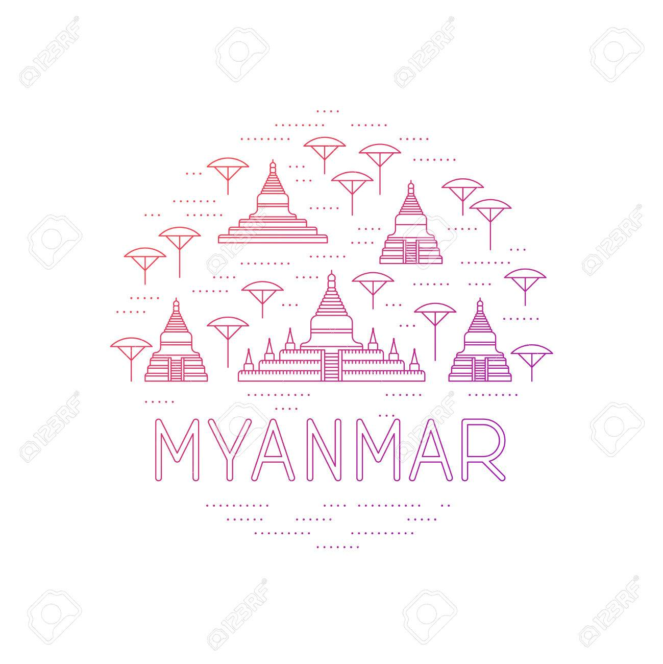 A round collage of Bagan sights. Myanmar travel template. Thin line icons of pagodas. - 49659964