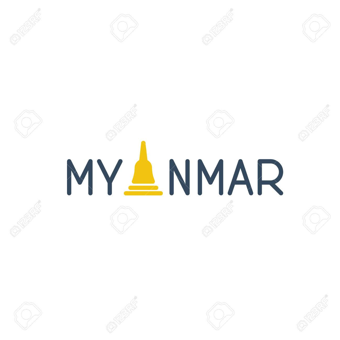 A sign of Myanmar country with a stupa instead of a letter A. - 49659969