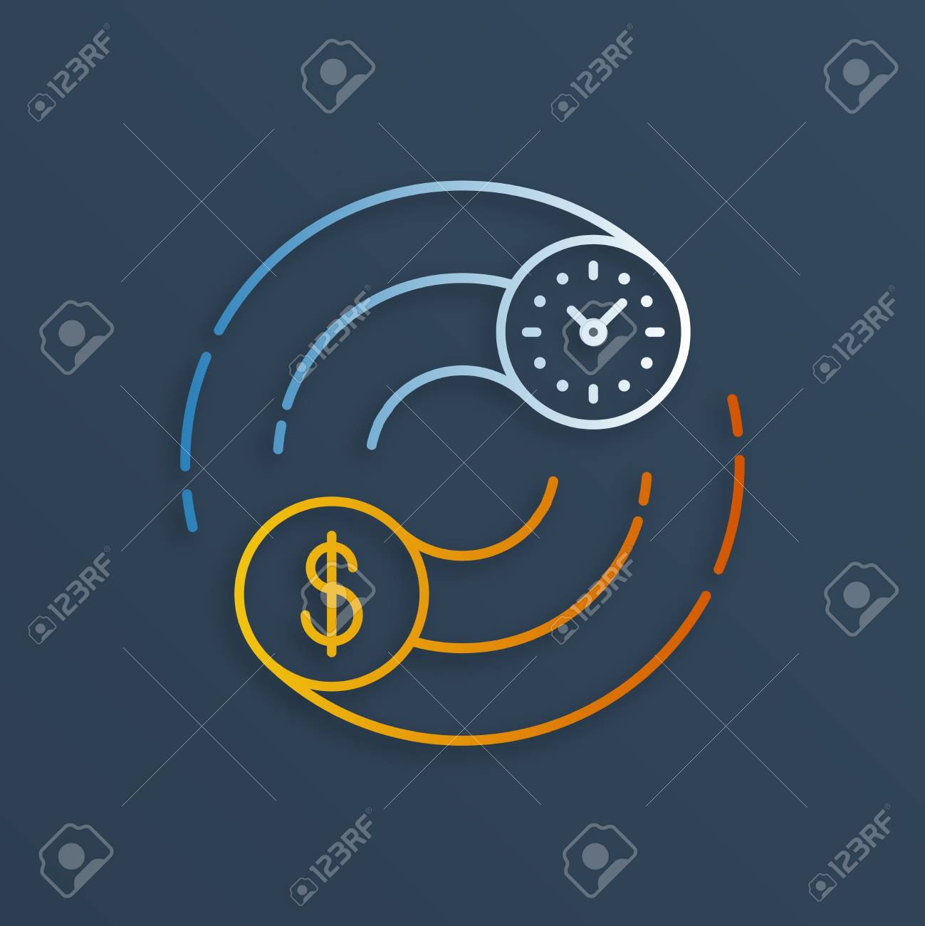 Time is money concept. Internship, savings account, future investments. - 49660043