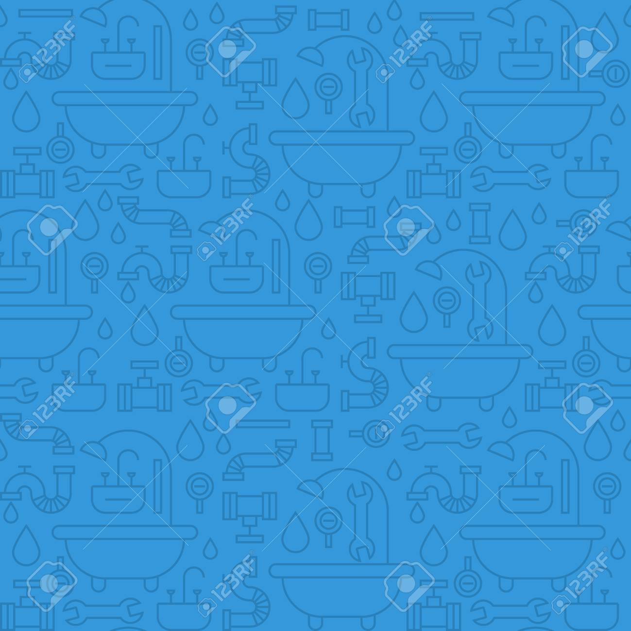Seamless pattern, plumbing theme - 53334805