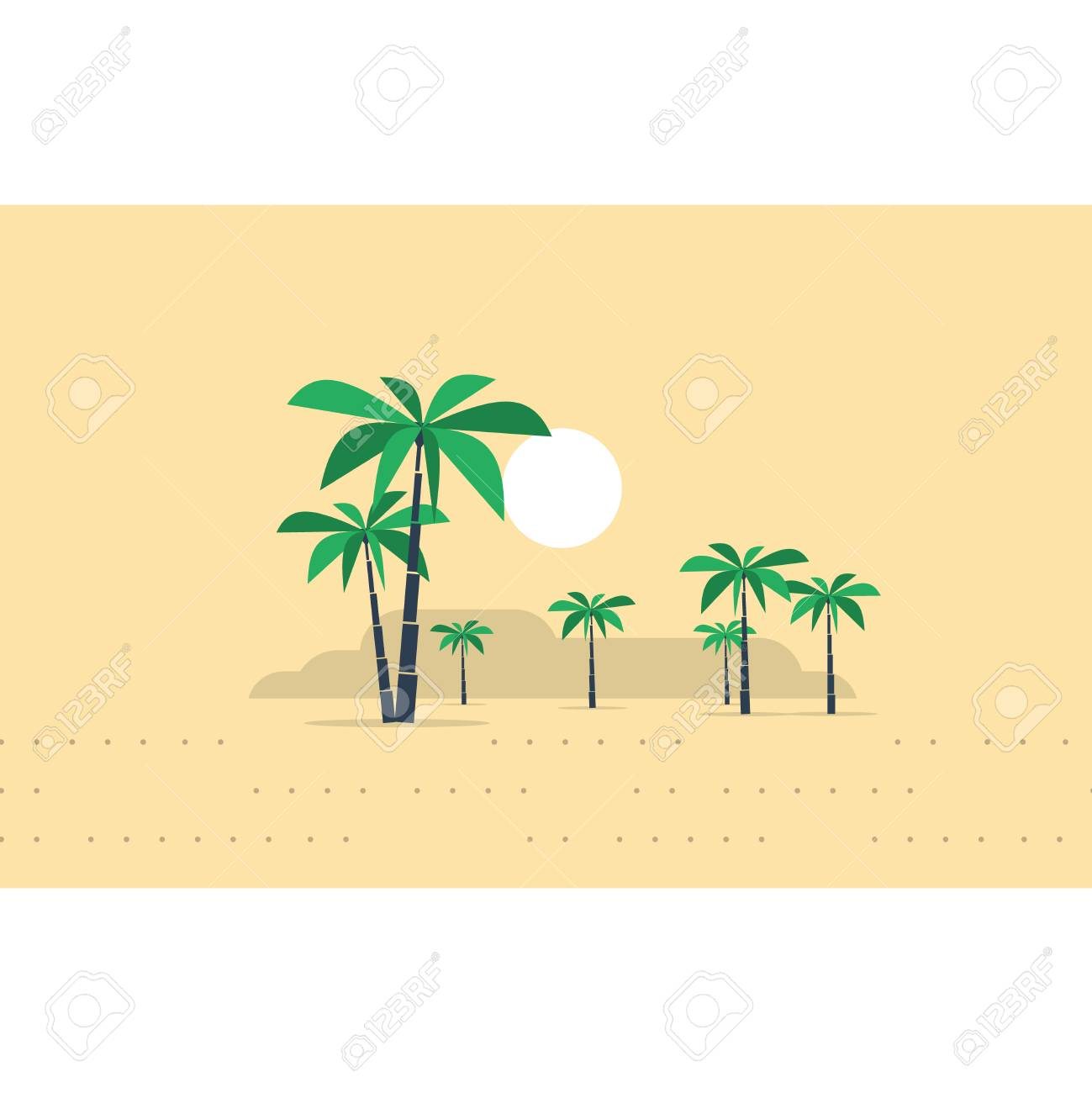 Palm trees in a desert - 53334897