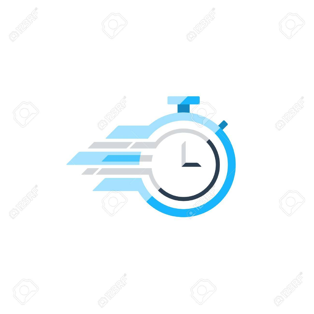 Fast time concept, rush hour , training session icon. Flat design illustration - 61093708