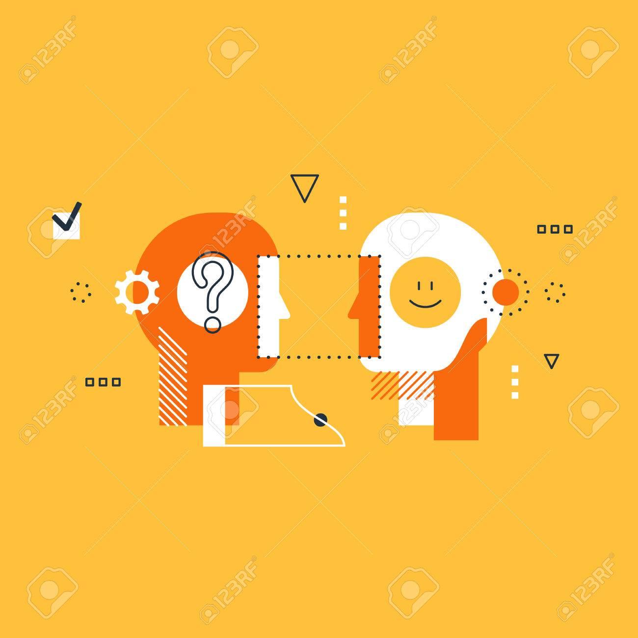 Psychology education concept, flat design illustration on white background - 68477706