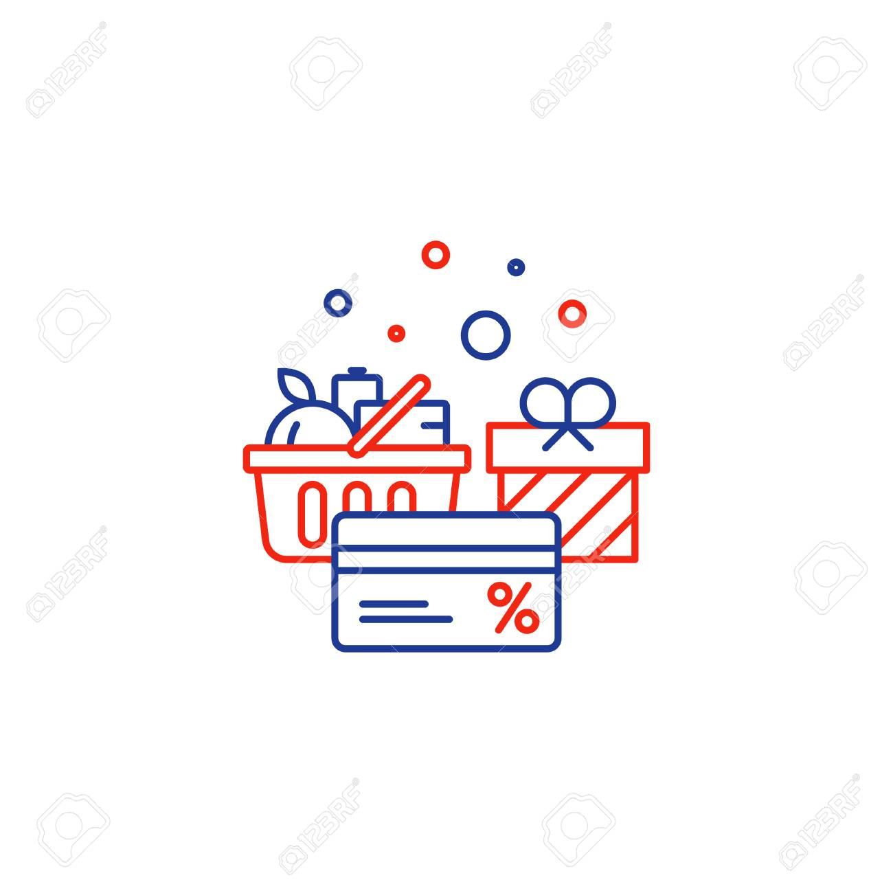 Full basket of food, grocery shopping purchase, special offer, bonus card, discount coupon, loyalty program gift, premium card vector line icon design - 74719603