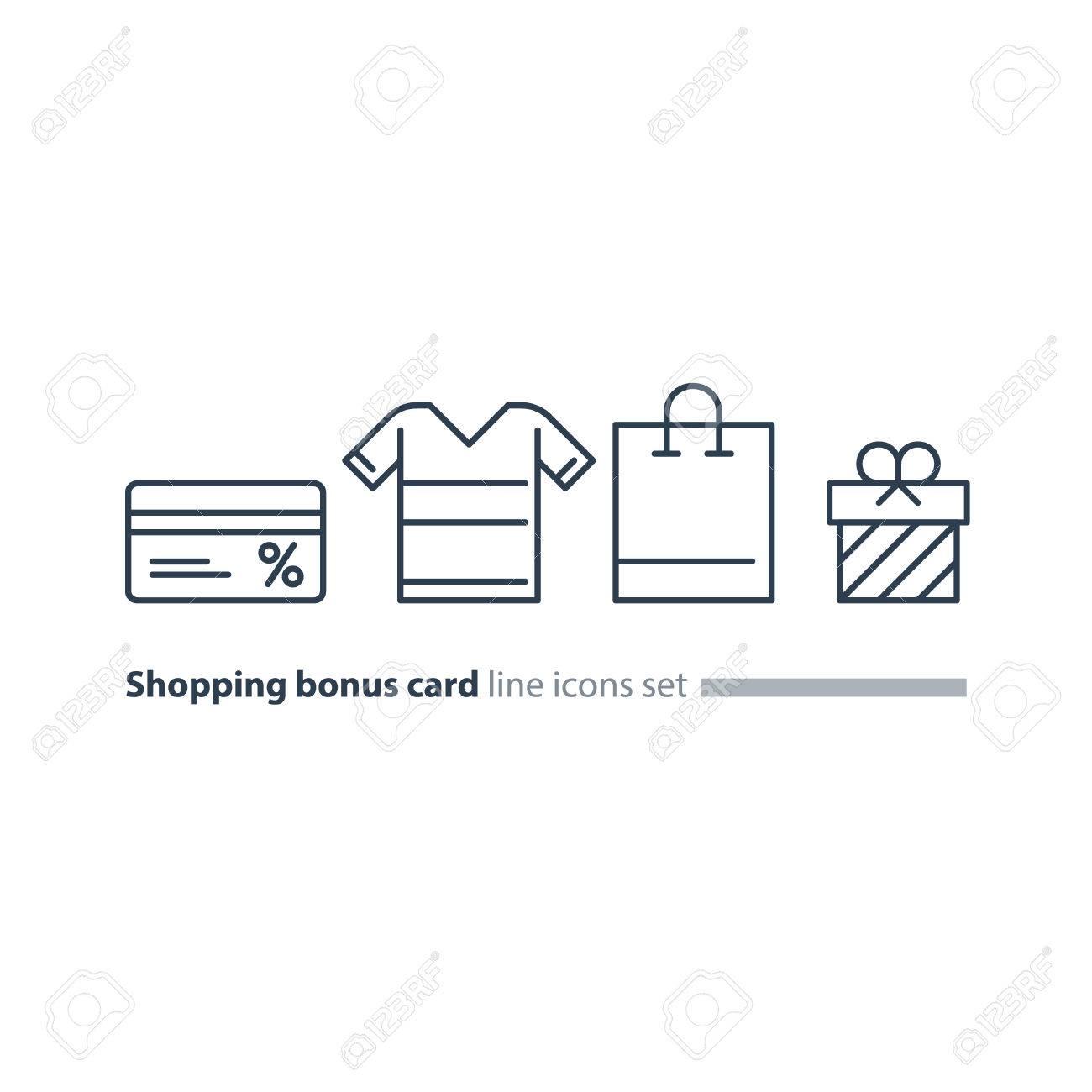 Bonus gift card, shopping bag, buy clothes, vector line icons - 74641483