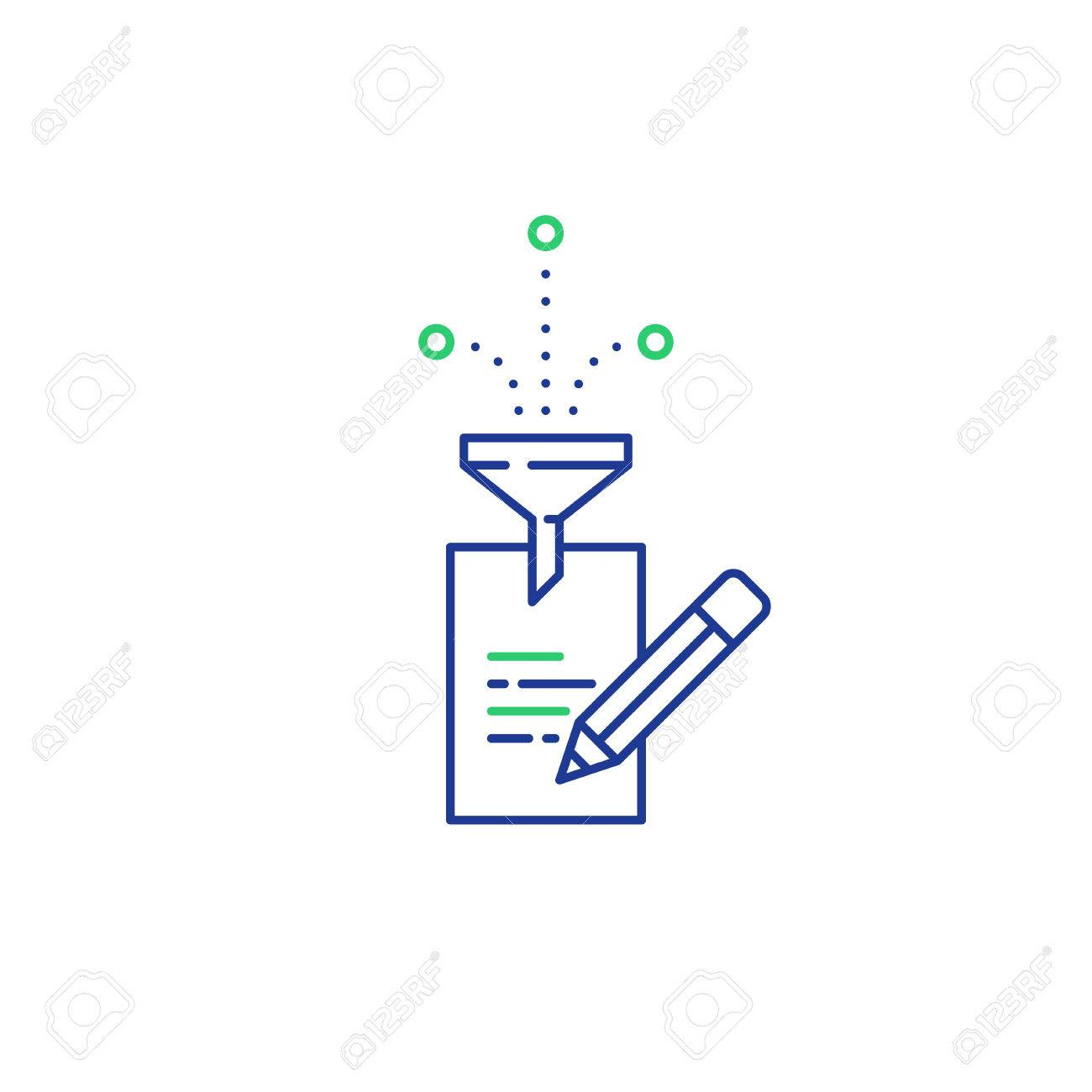 Creative writing concept, storytelling, content management, assay composition, education, vector mono line icons - 75476158