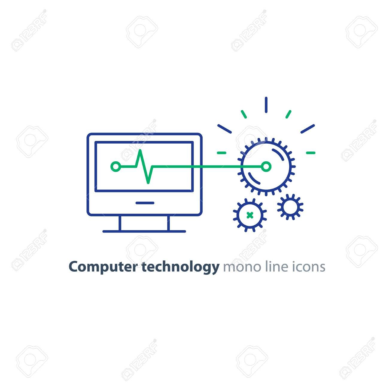 Computer technology, software development, engineering concept, programming and coding services, gear wheel mechanism, vector line icon - 75443752