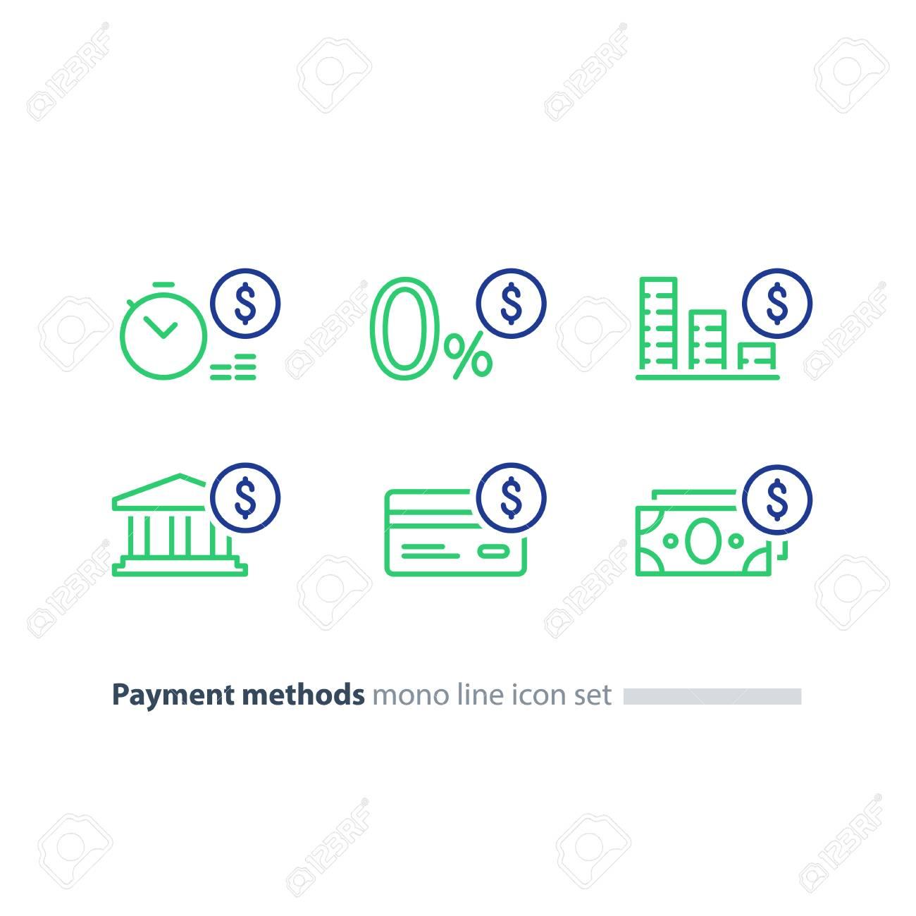 Payment methods, financial items set, zero percent commission fee, credit card money transaction. - 79256210