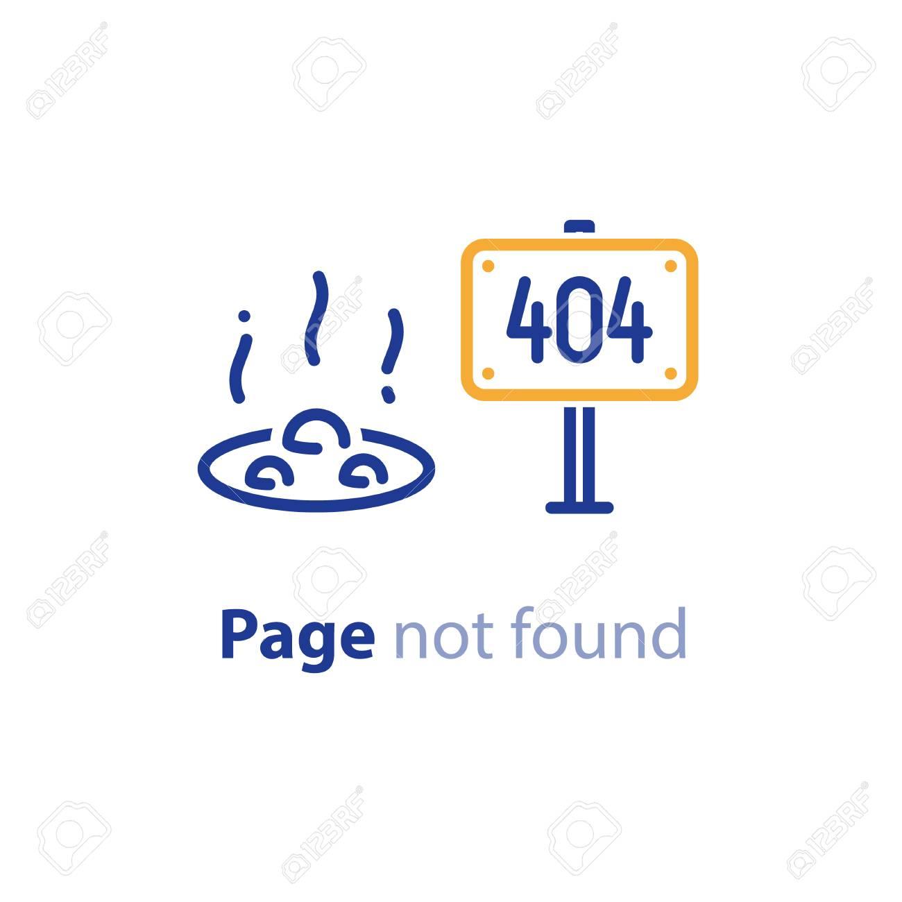 Error 404 page not found concept illustration, webpage banner,