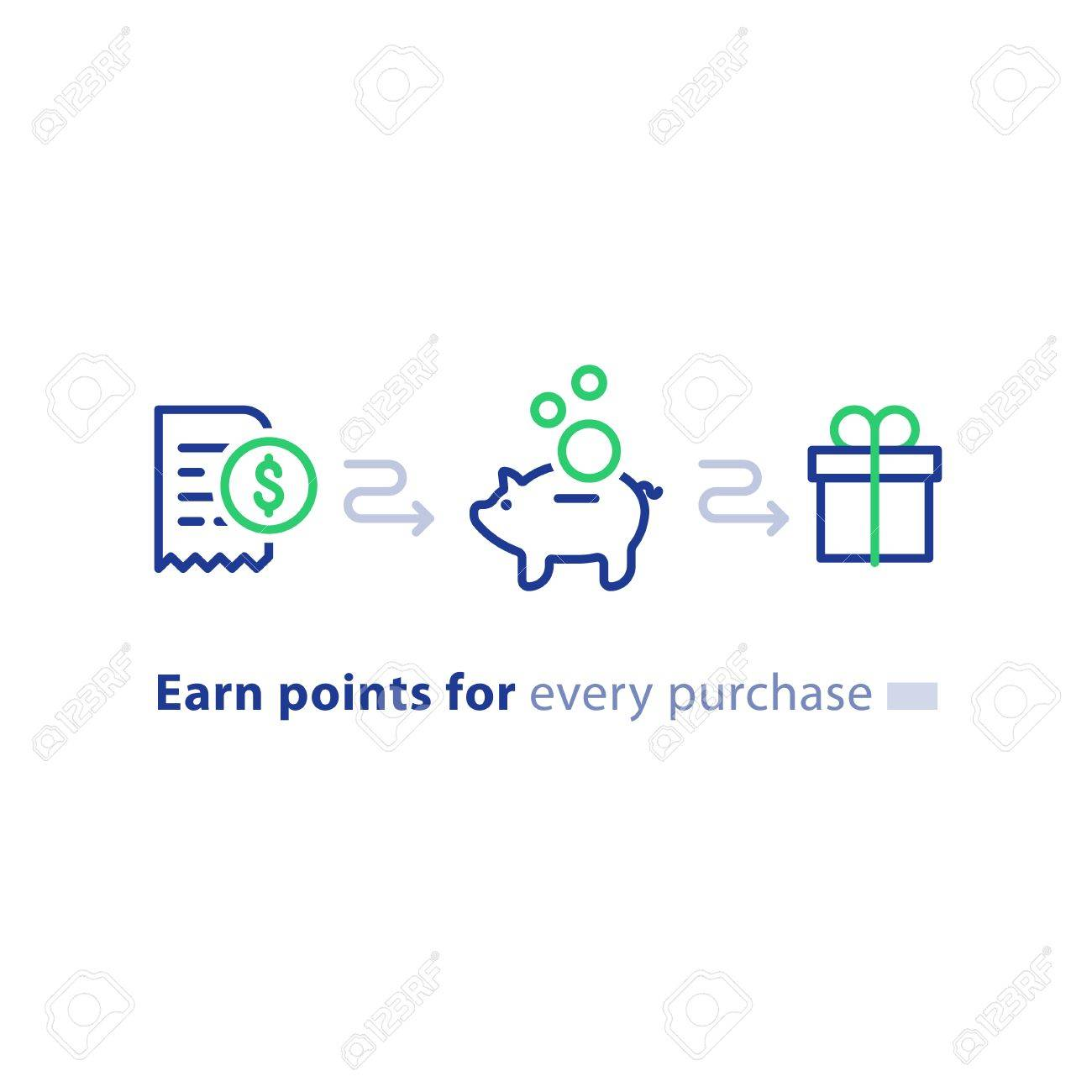 Earn points for purchase concept, loyalty program, cash back, marketing and promotion, reward gift, get bonus, vector line icons - 87332812