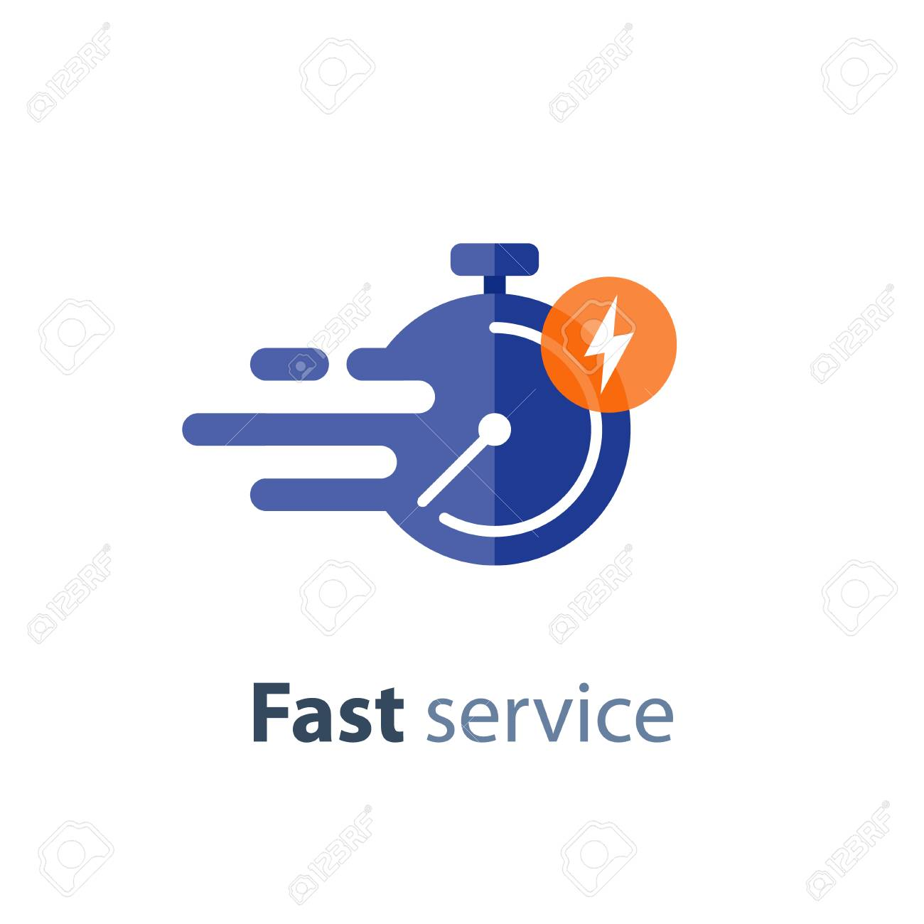 Fast time delivery icon, timely service, stopwatch in motion, deadline concept, vector flat illustration - 87713830