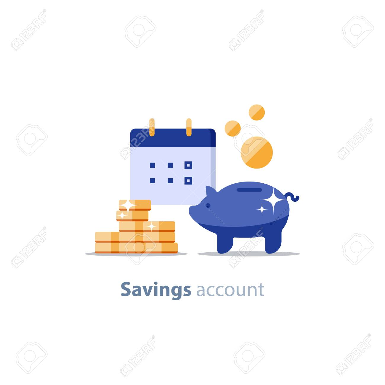 Future income, financial calendar, piggy bank annual dividends, return on investment, home budget planning, monthly payment day, pension fund savings, superannuation illustration, vector flat icon - 88599465