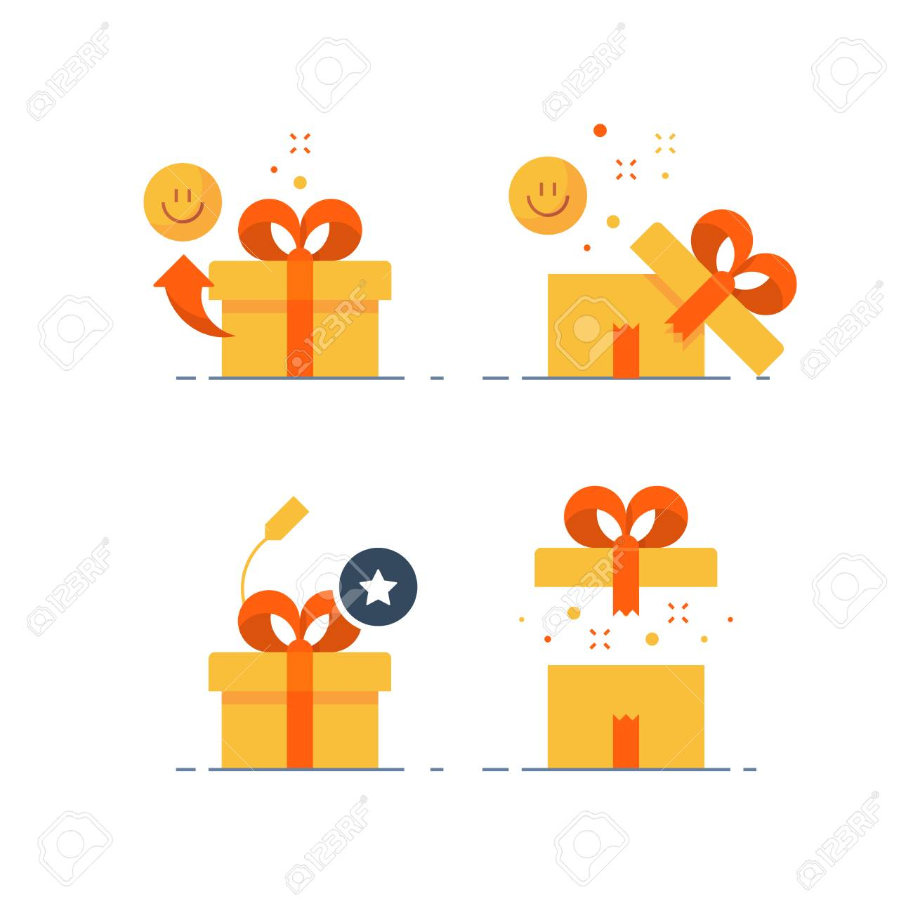 Surprising gift set, prize give away, emotional present, fun experience, unusual gift idea concept, opened yellow box with red ribbon, flat design icon, vector illustration. - 93964436