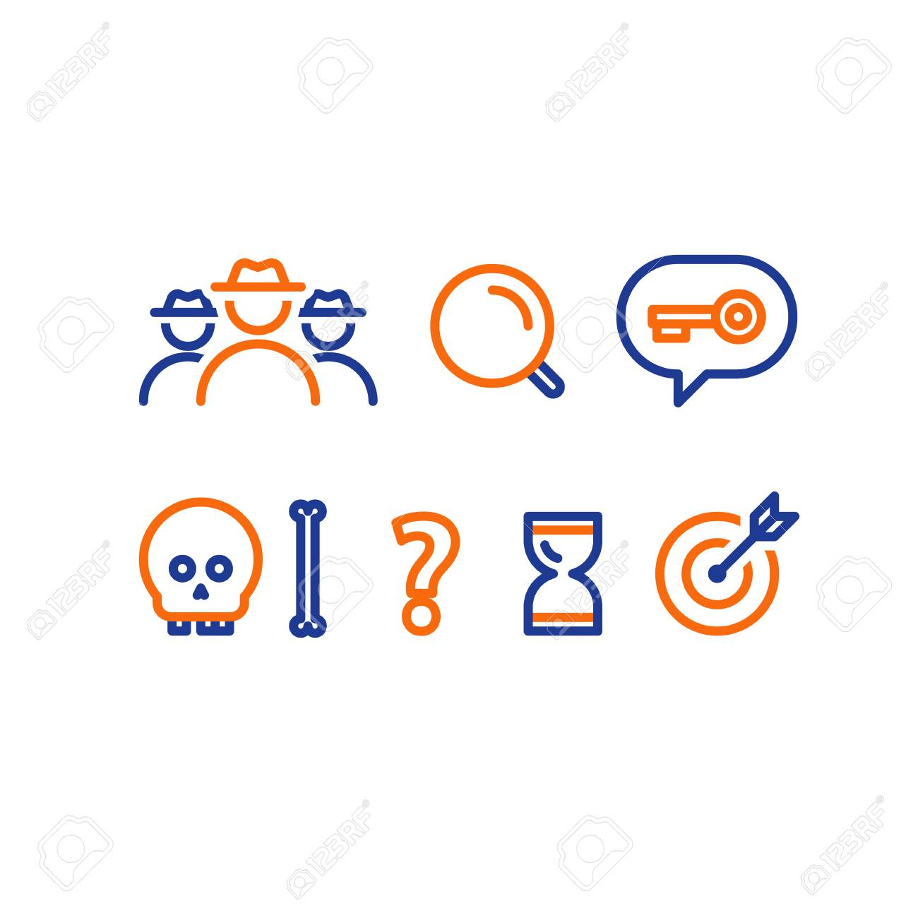 Detective game concept, quest playing items, crime investigation,