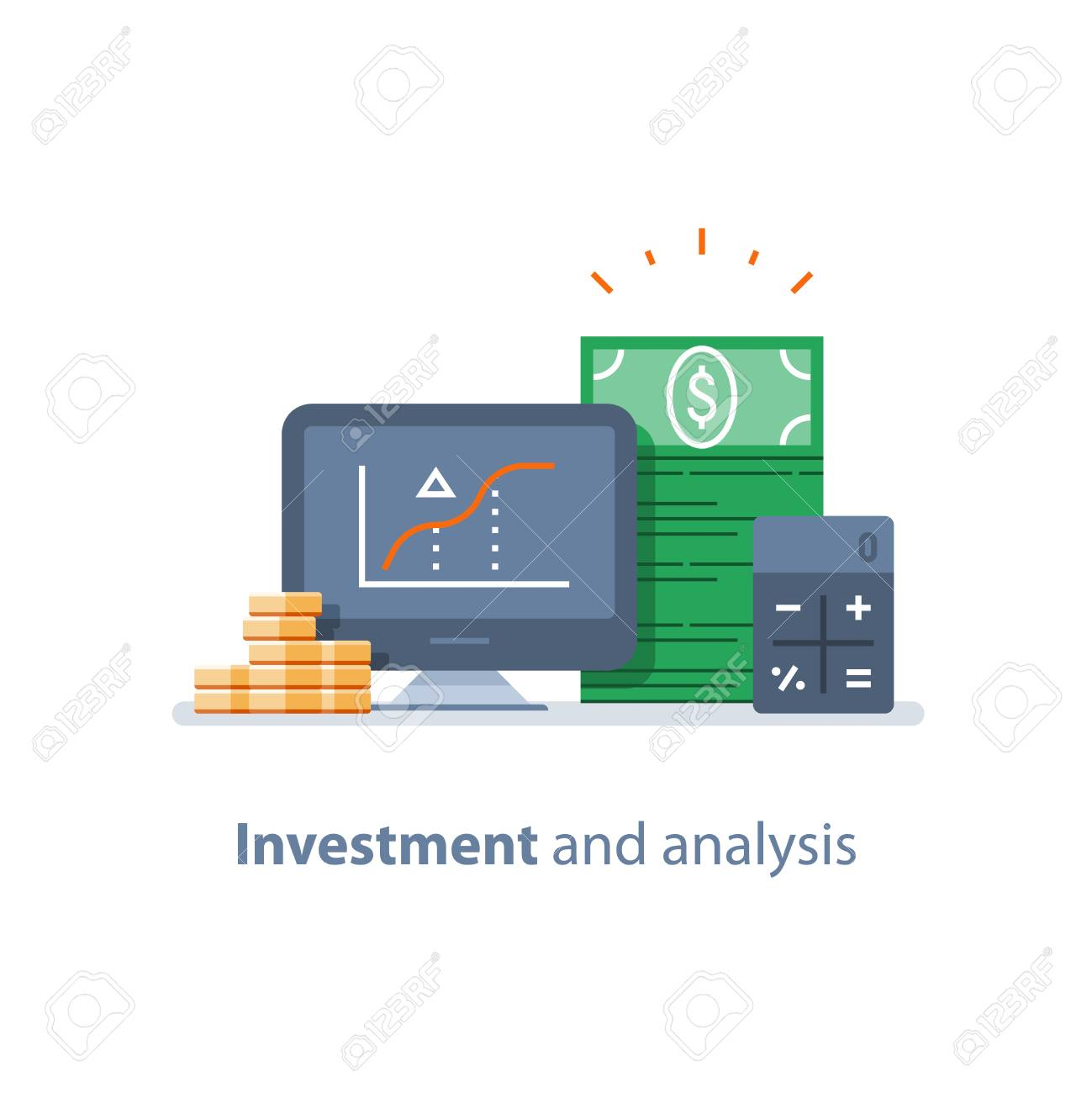 Investment strategy, financial analysis, hedge fund, venture business, mutual fund, trust management, interest rate, capital growth, data review on desktop, stock market and exchange, accountancy icon - 94356679