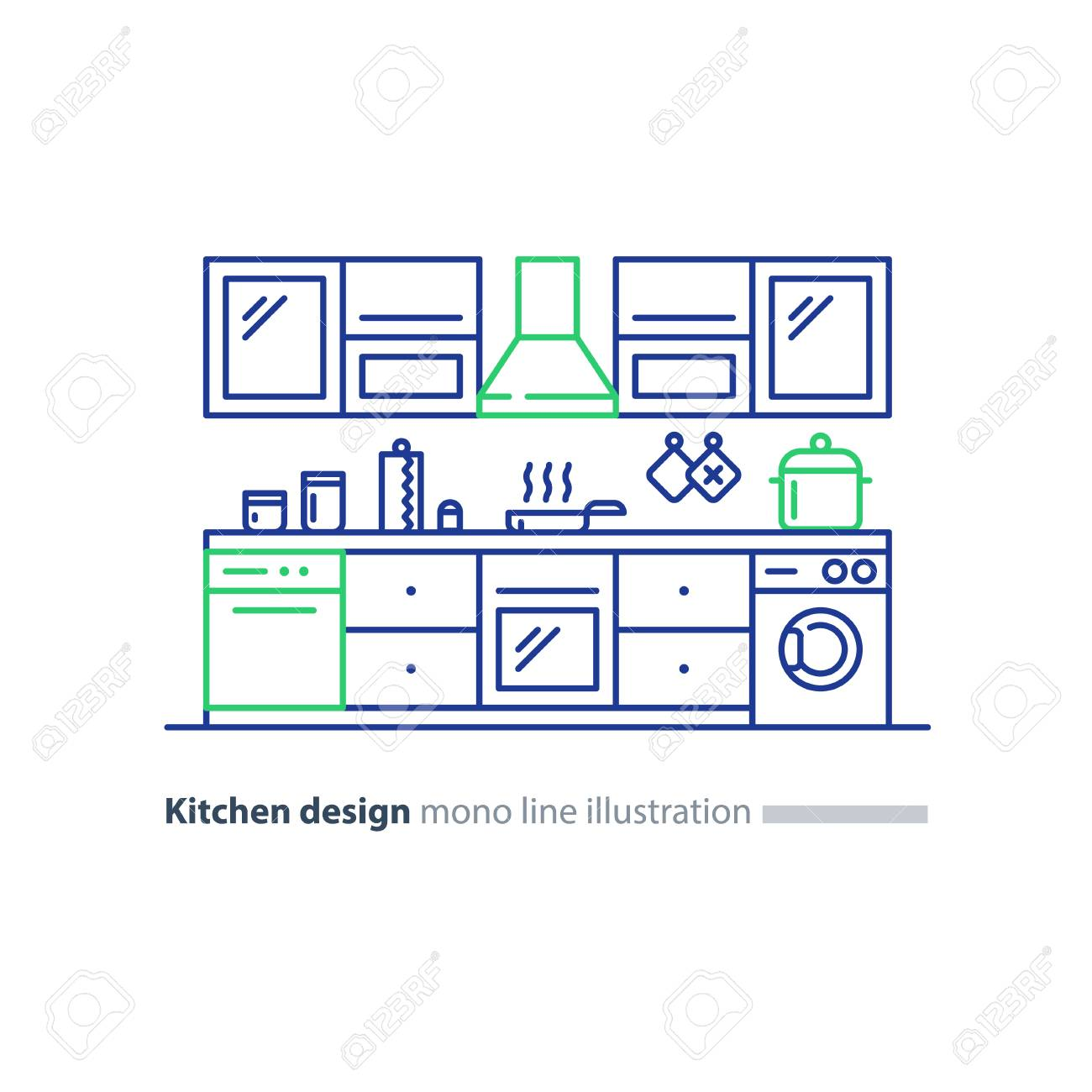 Kitchen design items and elements combination idea vector mono line illustration stock vector