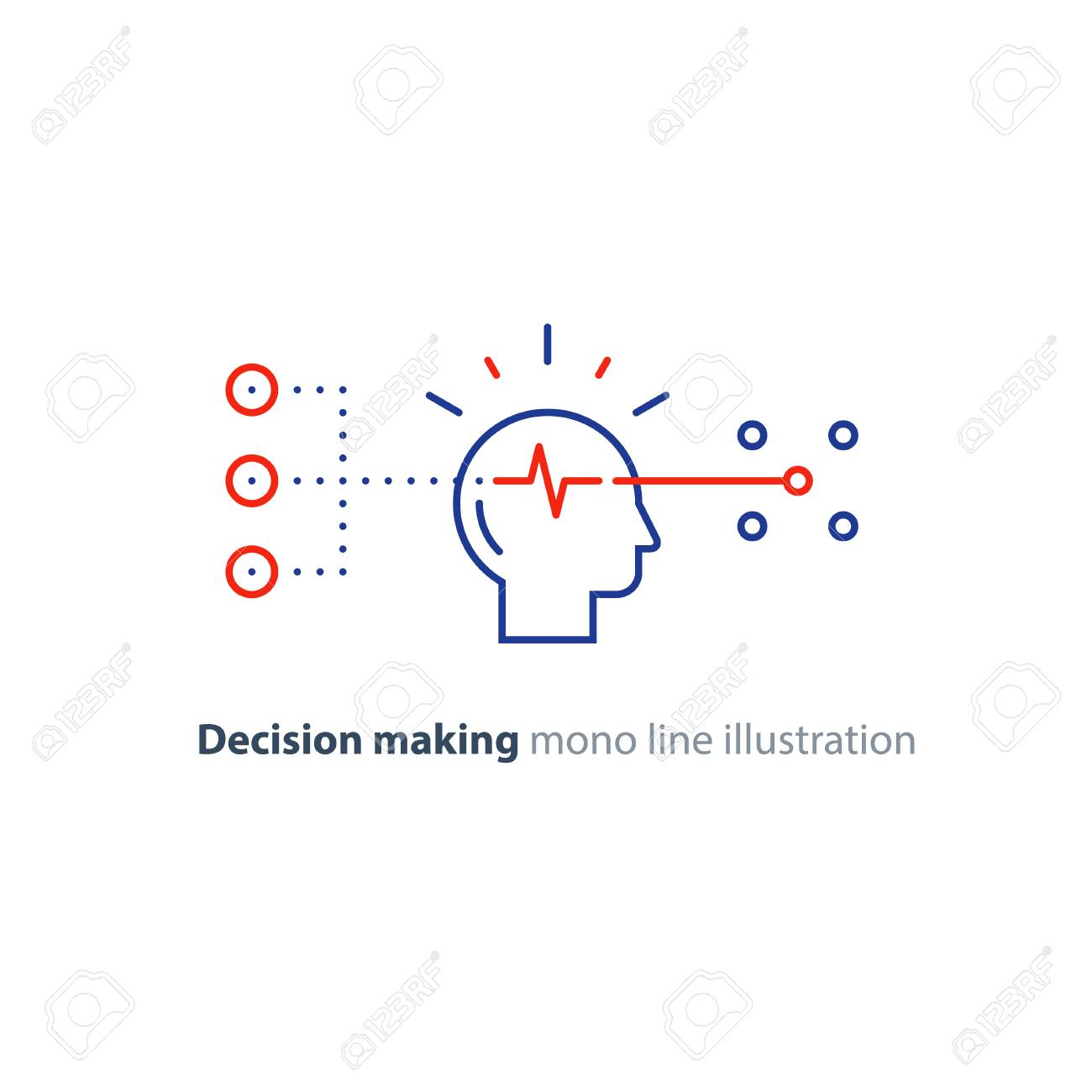 Decision making architects, choice tree, marketing concept, psychology and neuroscience, mindset, vector mono line icon - 94797109