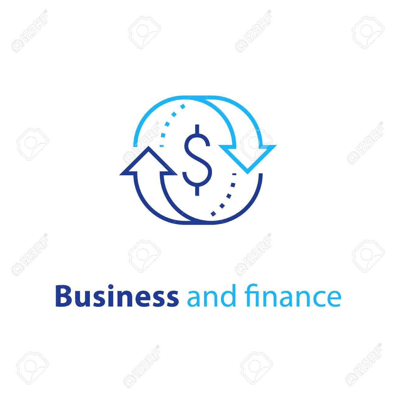 Currency exchange, cash back, quick loan, mortgage refinance, refund, insurance concept, fund management, business solution, finance service, return on investment, stock market, vector line icon - 95252655