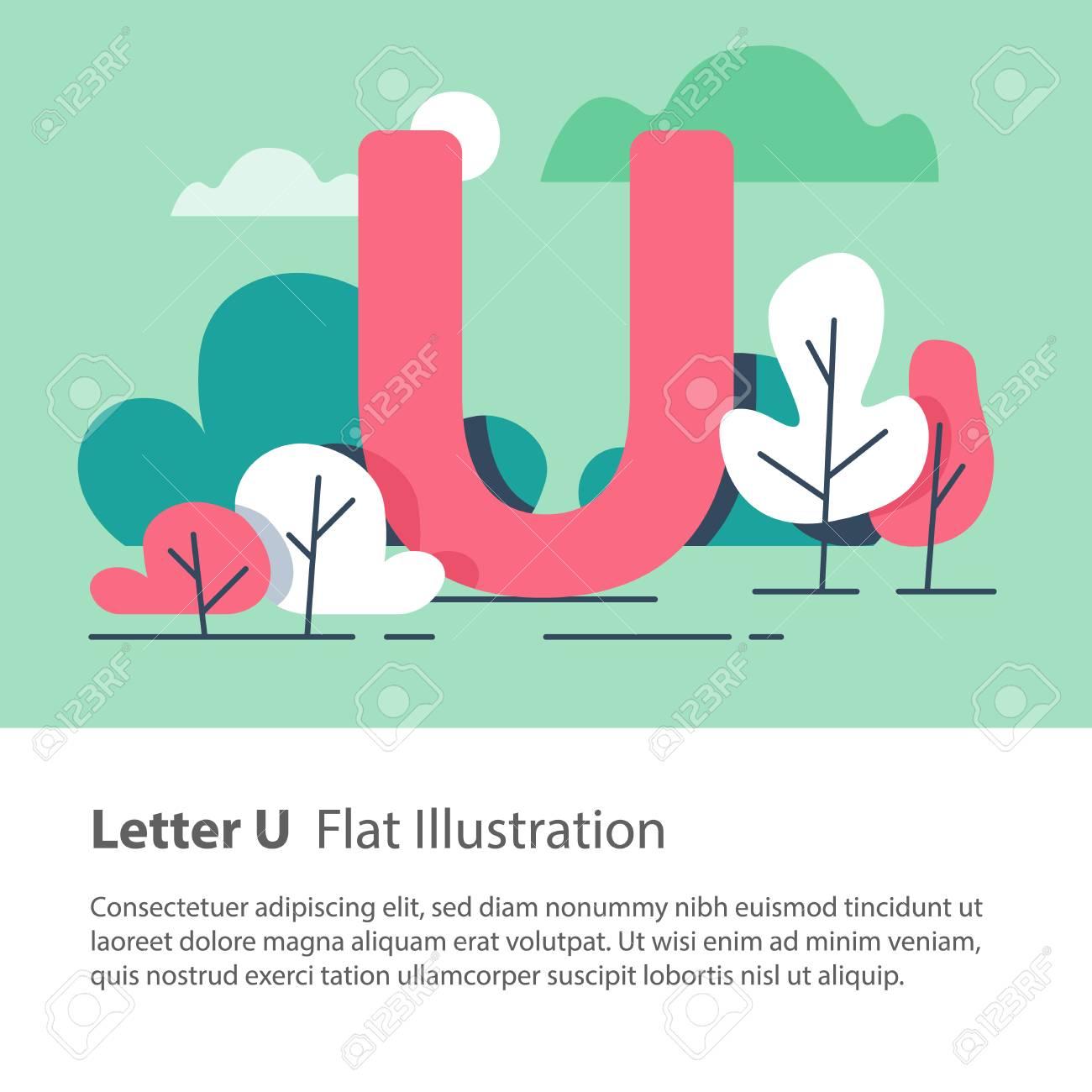 Letter U In Floral Background Park Trees Decorative Alphabet