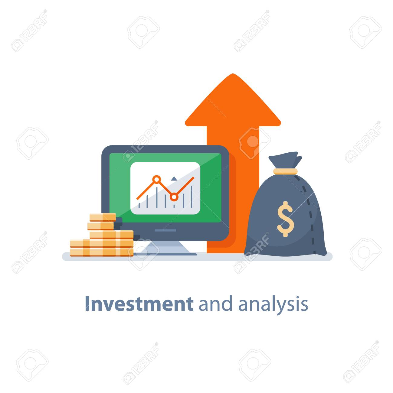 Investment strategy, financial analysis, hedge fund, venture business, mutual fund, trust management, interest rate, capital growth, data review on desktop, stock market and exchange, accountancy icon - 101172759