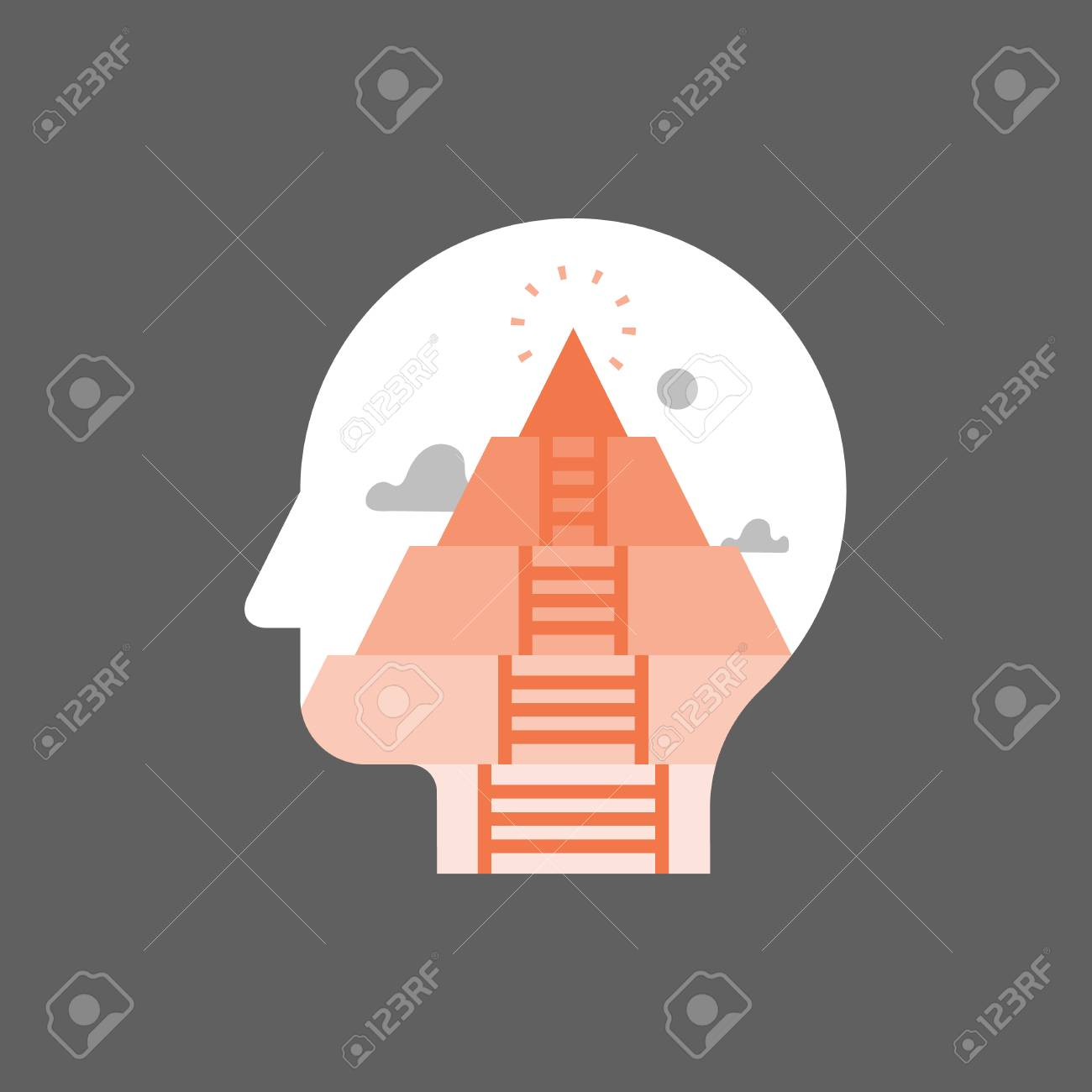 Pyramid hierarchy of human needs, psychoanalysis concept, mental development stage, self actualization, personal growth and fulfillment, self awareness and mindfulness, life meaning, vector icon - 105675107