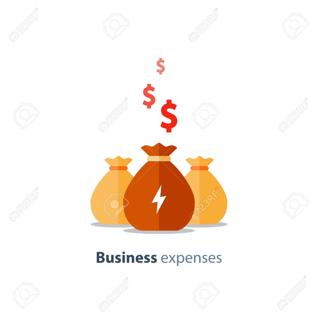 Business expenses, fundraising campaign, venture capital, asset evaluation, mutual fund, company dividends, long term investment portfolio, vector icon, flat illustration - 107083202