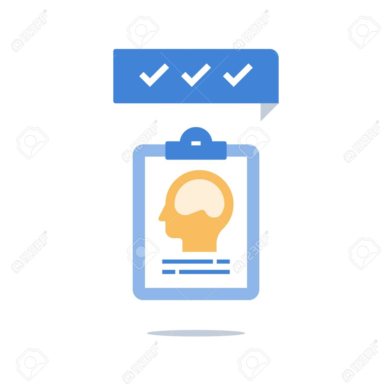 Intelligence evaluation, mental health, brain memory, growth or positive mindset, personal potential, critical or creative thinking, psychiatry or neurology, decision making, vector icon - 108933393