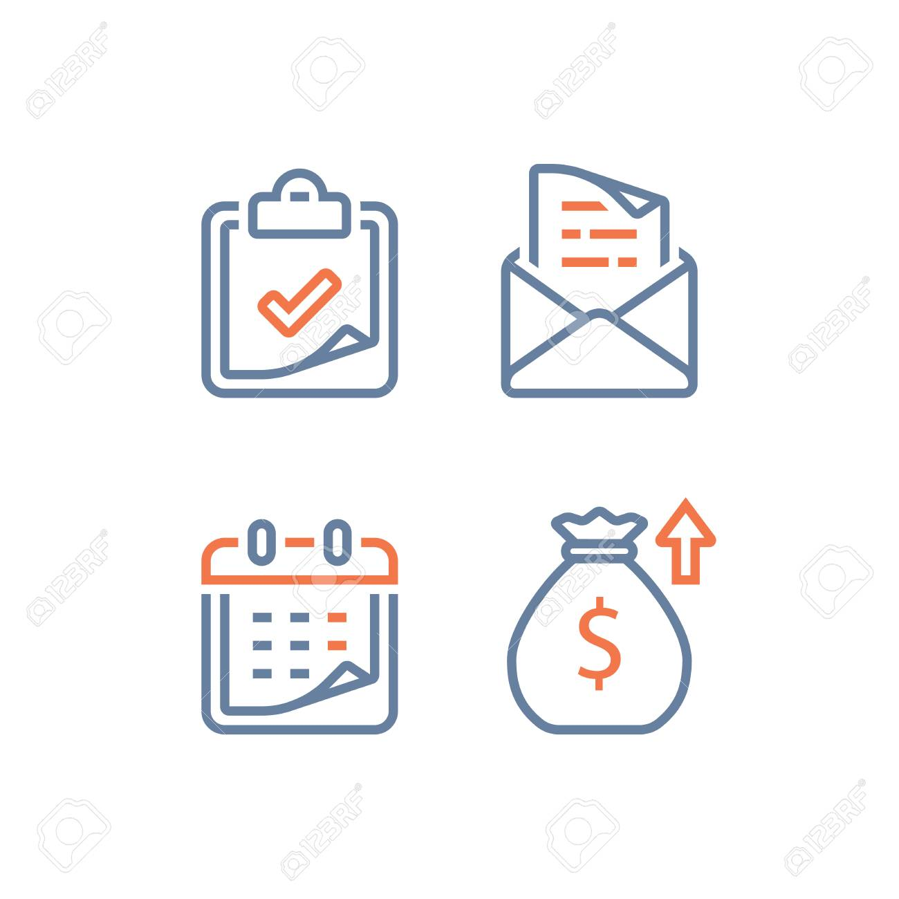 Financial calendar, annual revenue, long term value investment and return, time period, high interest rate, monthly loan payment plan installment, tuition grant application, linear vector, line icon - 108933499