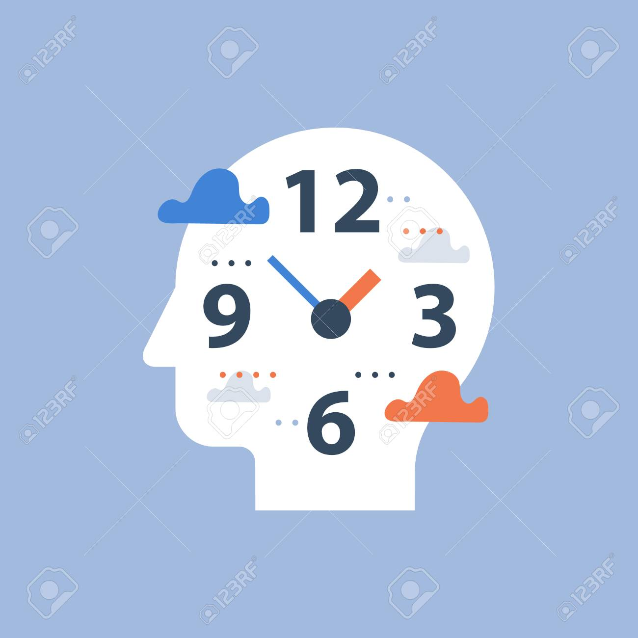 Procrastination concept, work hours and deadline, time management, clock face and head, day planning, free time, vector icon, time perception, being present, flat illustration - 110974814