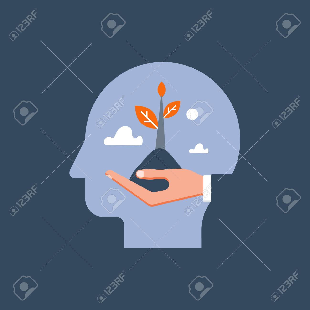 Self growth, potential development, motivation and aspiration, mental health care, positive mindset, psychotherapy and analysis, pursuit of happiness, hand holding steam, vector illustration - 110974821
