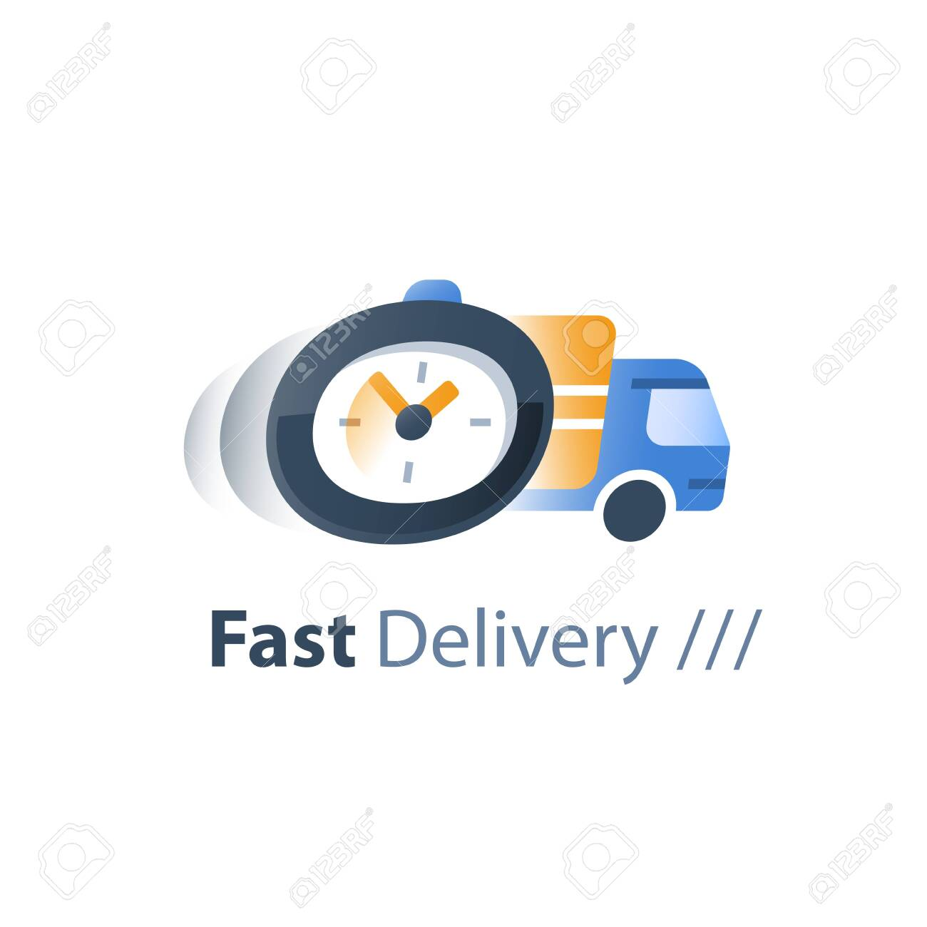 Fast delivery services, logistics company, waiting time period, order delay, move truck, order express shipping, vector flat icon - 128323117