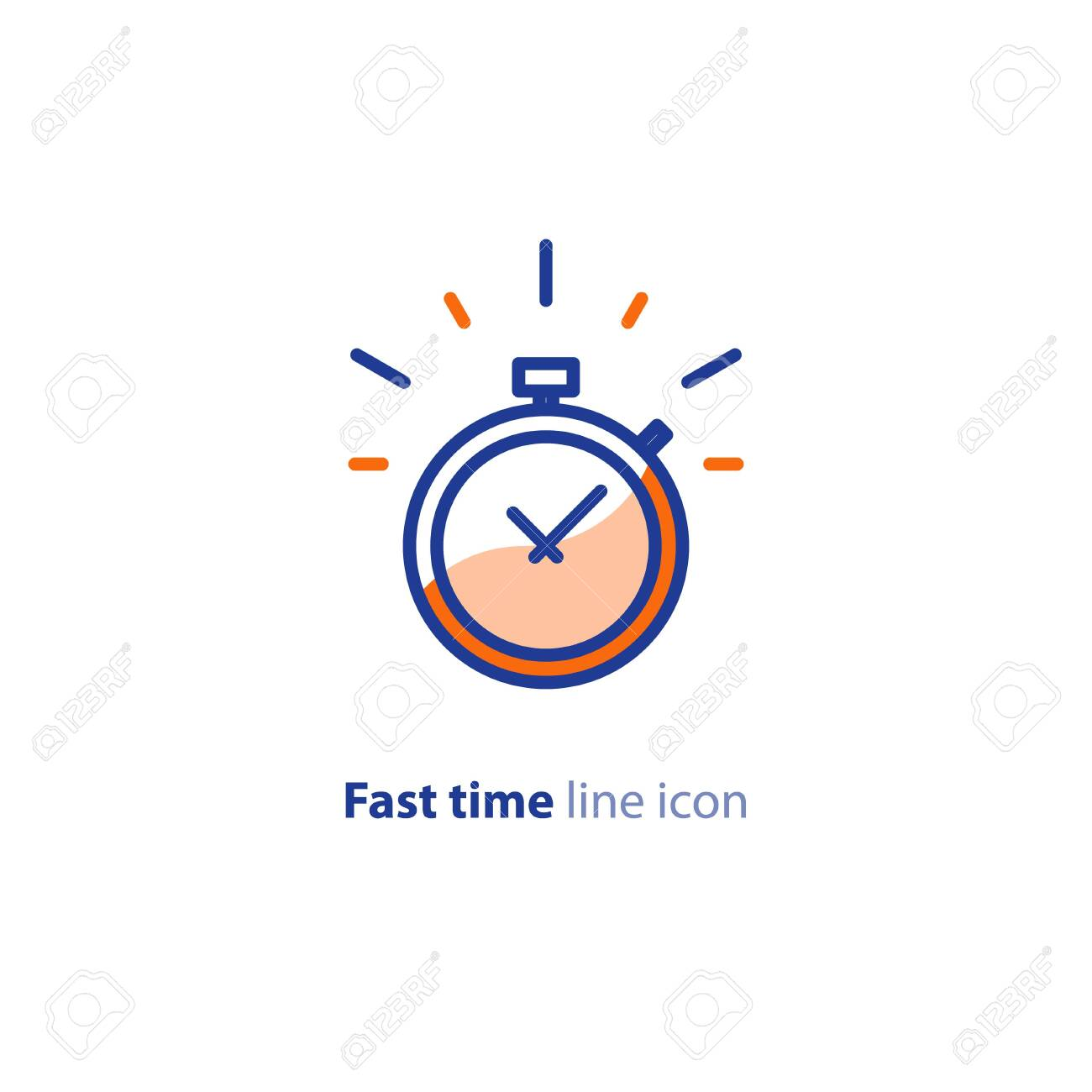 Fast time, stop watch speed concept, quick delivery, express and urgent services, deadline and delay, vector line icon - 128323501