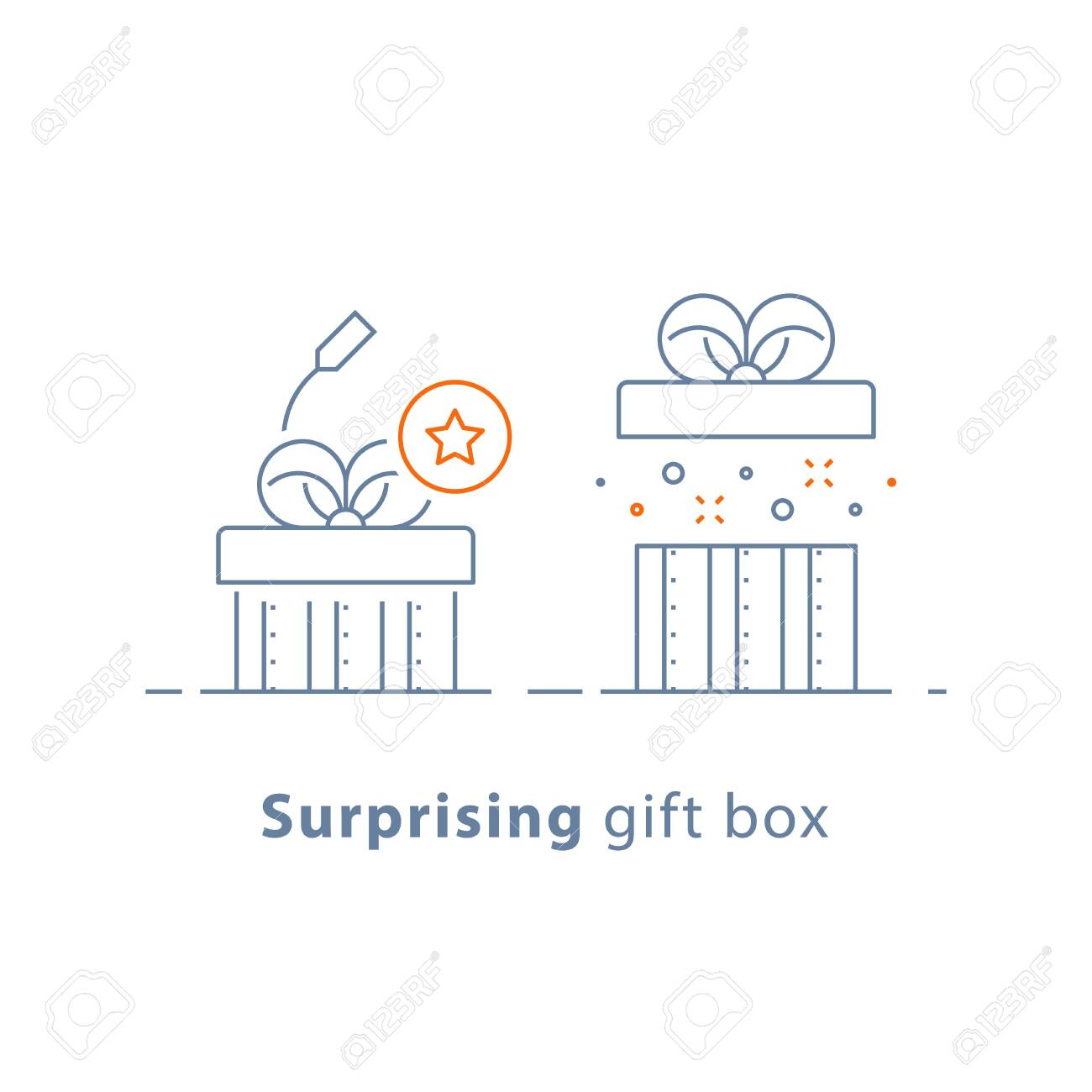 Surprising gift, prize give away, creative present, fun experience, unusual gift idea concept, opened box, line design icon, vector illustration - 128323709