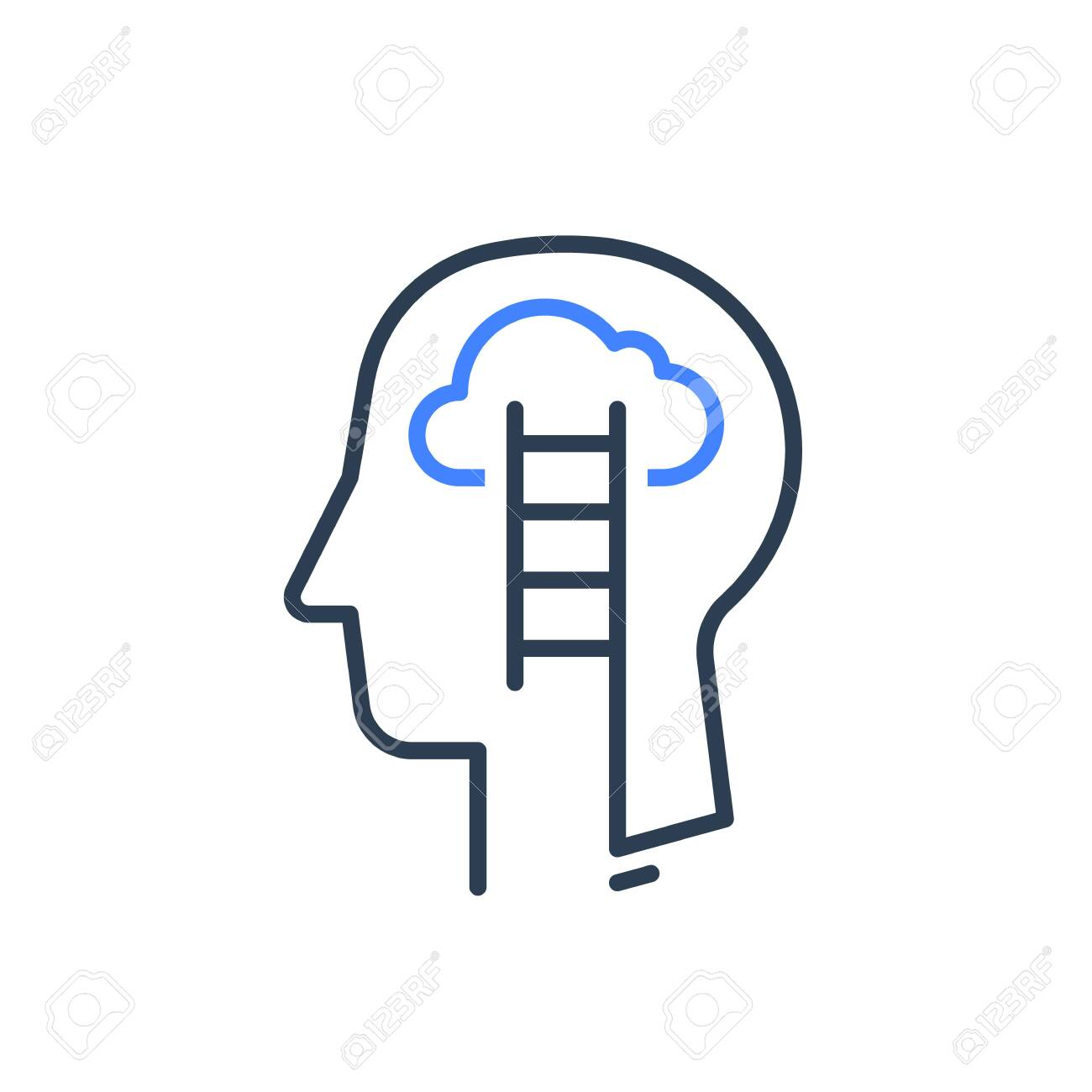 Human head profile and ladder line icon, cognitive psychology or psychiatry concept, growth mindset, self knowledge, soft skill training, emotional intelligence, vector linear design - 133864877