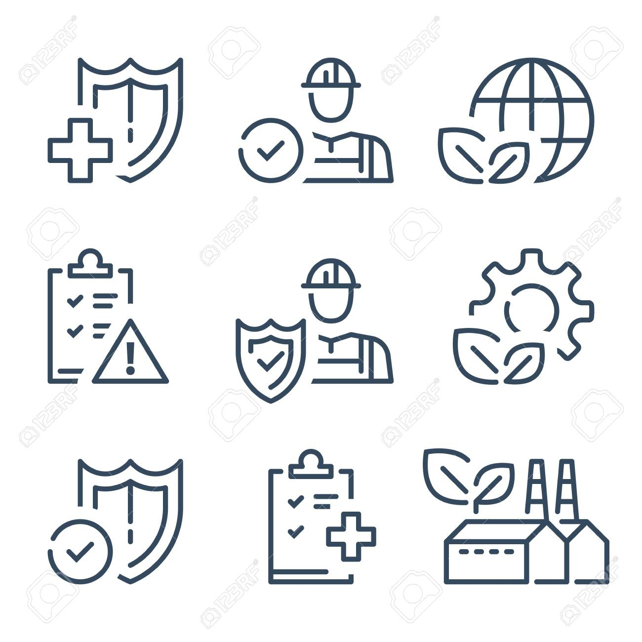 HSE concept, occupational safety and health administration, production factory and environment, medical insurance, labor preventive instructions, worker protection, vector line icon - 133765668