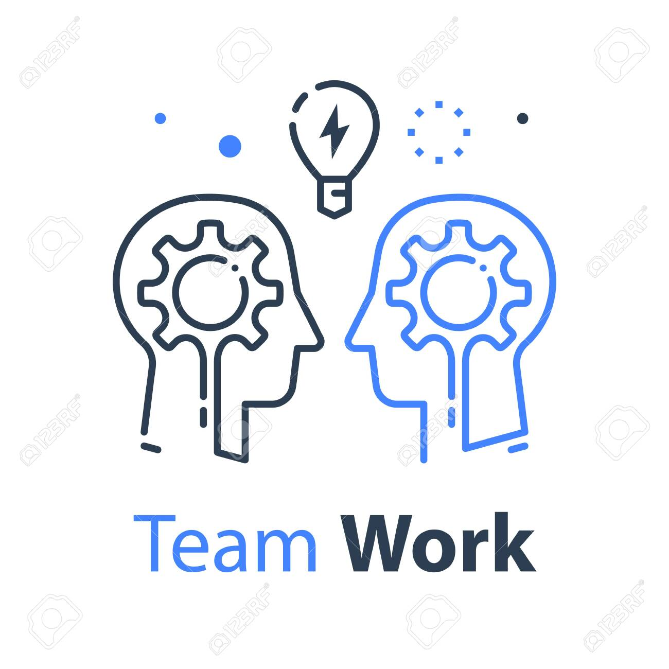 Team work, communication or negotiation, common ground, mutual understanding, creative solution, think outside the box concept, business training or workshop, vector line illustration - 133868435