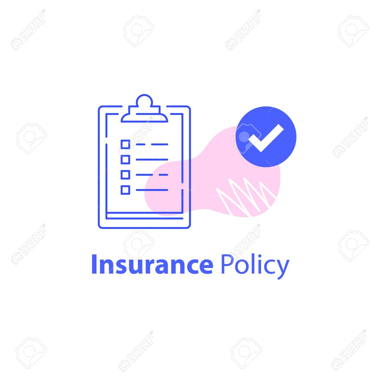 Check list, insurance services, accept policy change, contract paperwork, terms and conditions, fast questionnaire, quick survey, opinion pol or sociology, vector line icon - 143063351