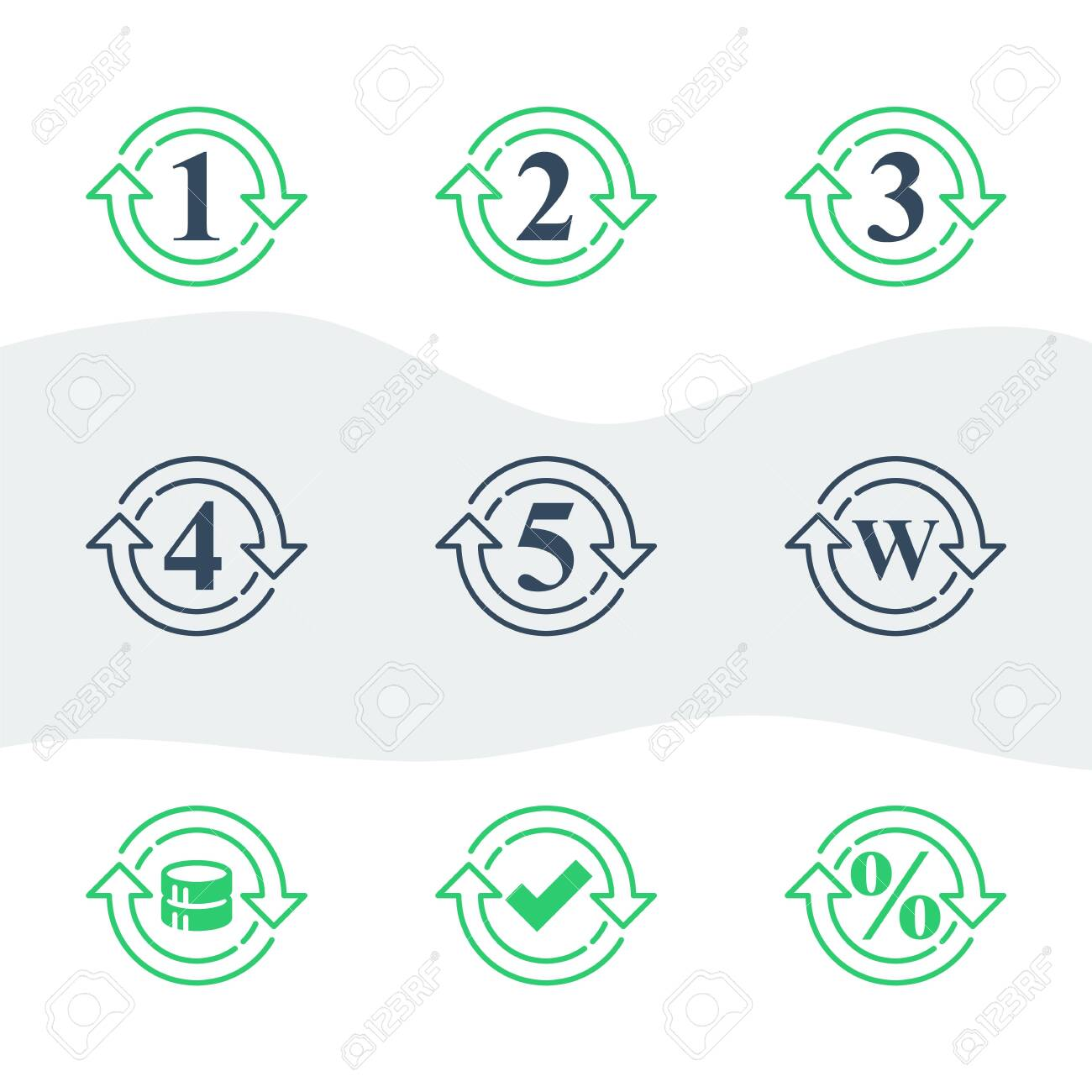 One or five year warranty sign, number two in circle arrow, round three symbol, durable product, durability guarantee, period cycle, upgrade level, vector line icon set - 144943748