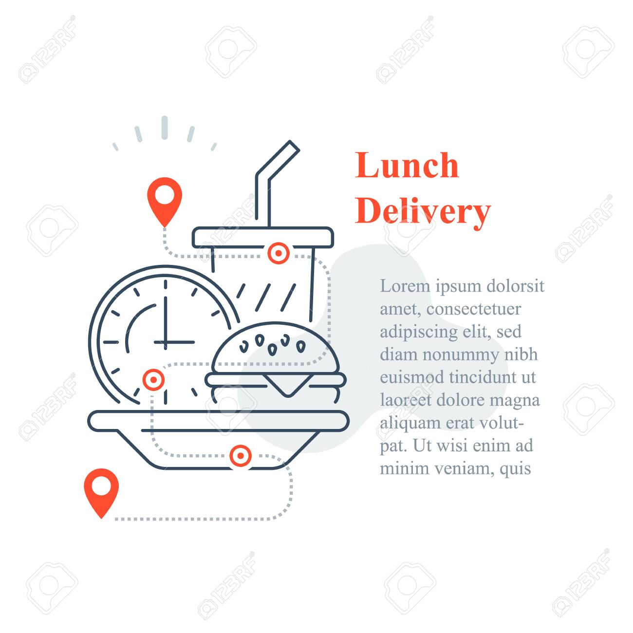 Fast food delivery to home, eat at home, order meal, vector line icon - 144943749