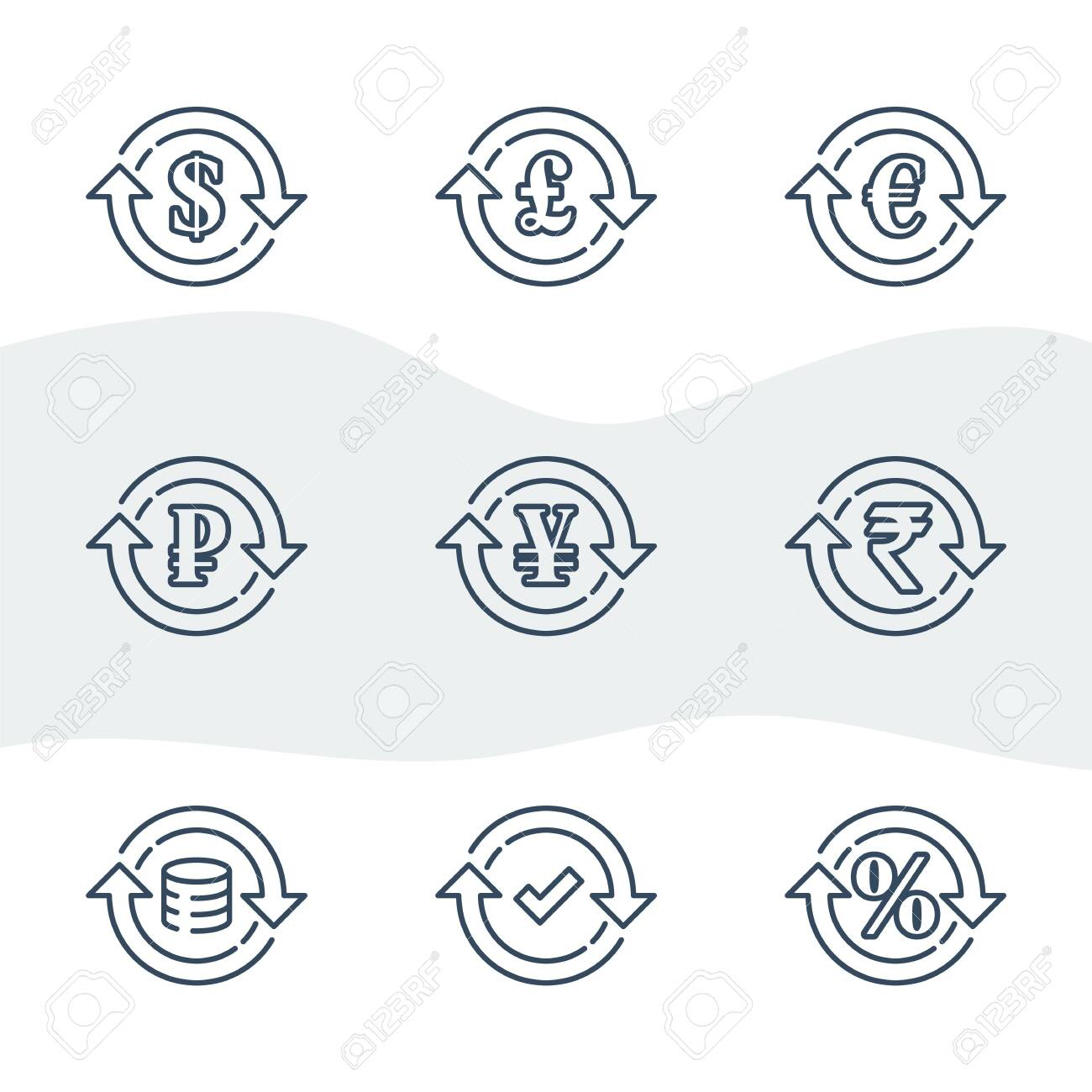 Currency exchange, financial services, pound and euro, dollar sign in circle arrow, ruble and rupee symbol, interest rate, debt refinance, return money, vector line icon set - 144943750