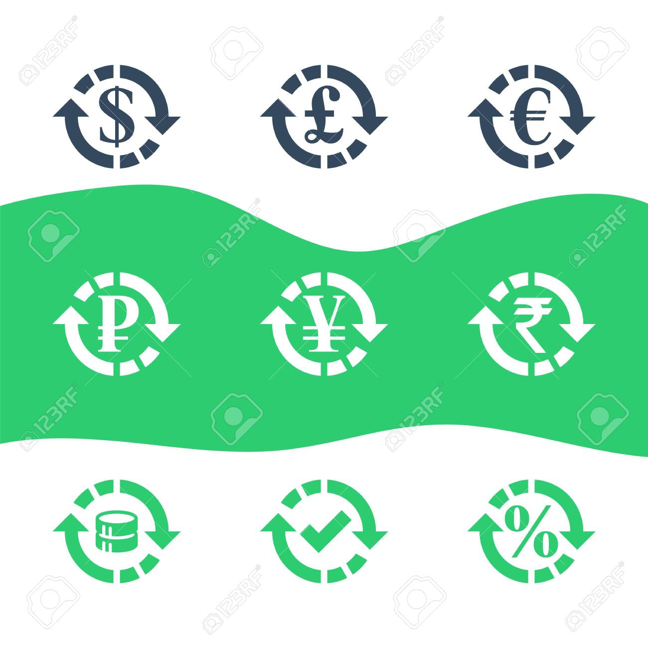 Currency exchange, financial services, pound and euro, dollar sign in circle arrow, ruble and rupee symbol, interest rate, debt refinance, return money, vector flat icon set - 144943752