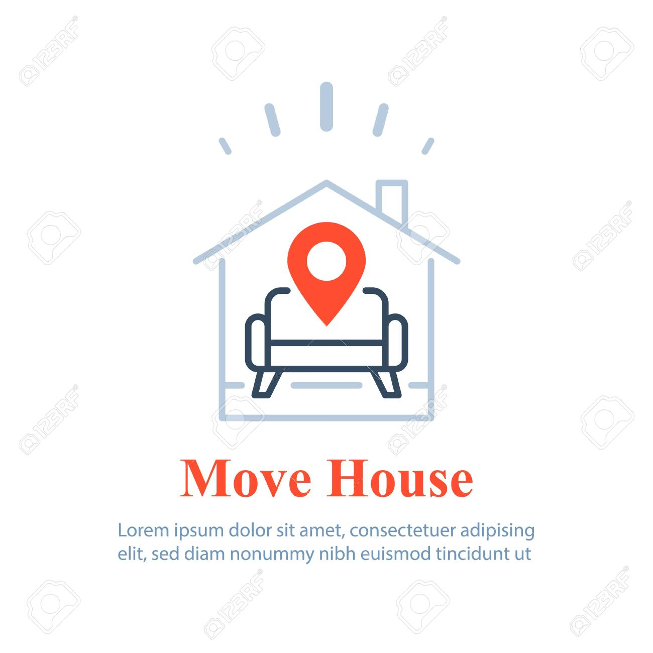 Home delivery services, move house , find apartment to rent, rental estate, guesthouse concept, vector line icon - 144943756