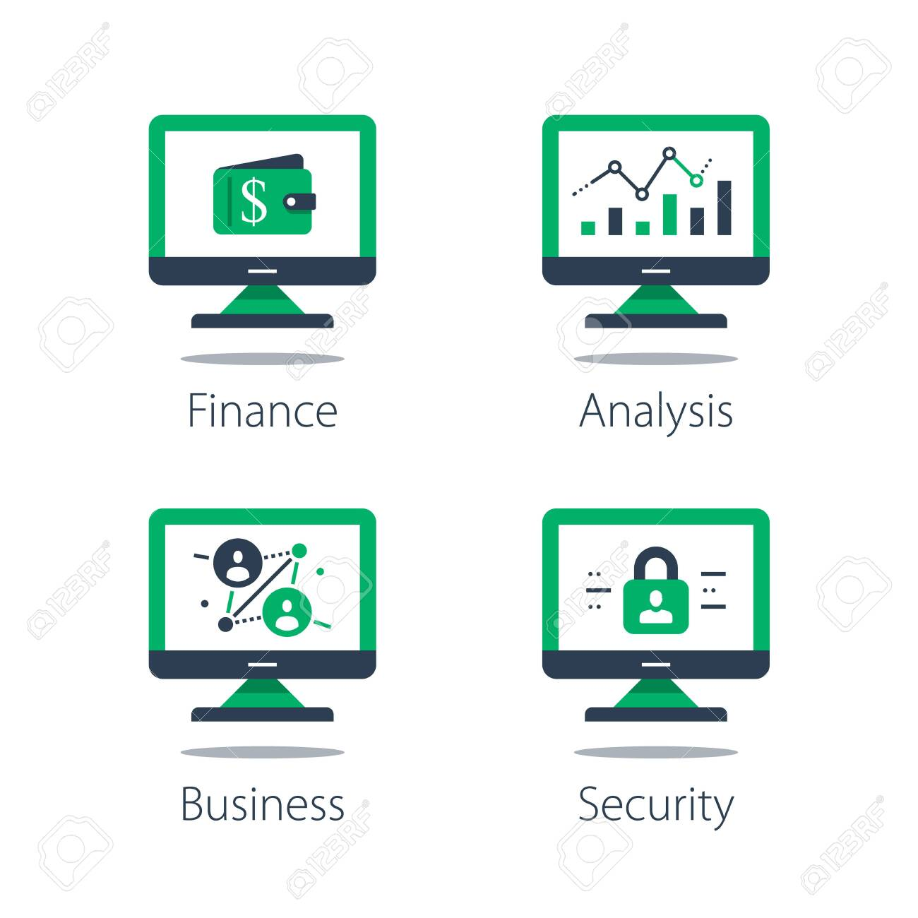 Online finance, internet banking, web security, computer monitor and padlock and financial security system concept illustration. - 150814047