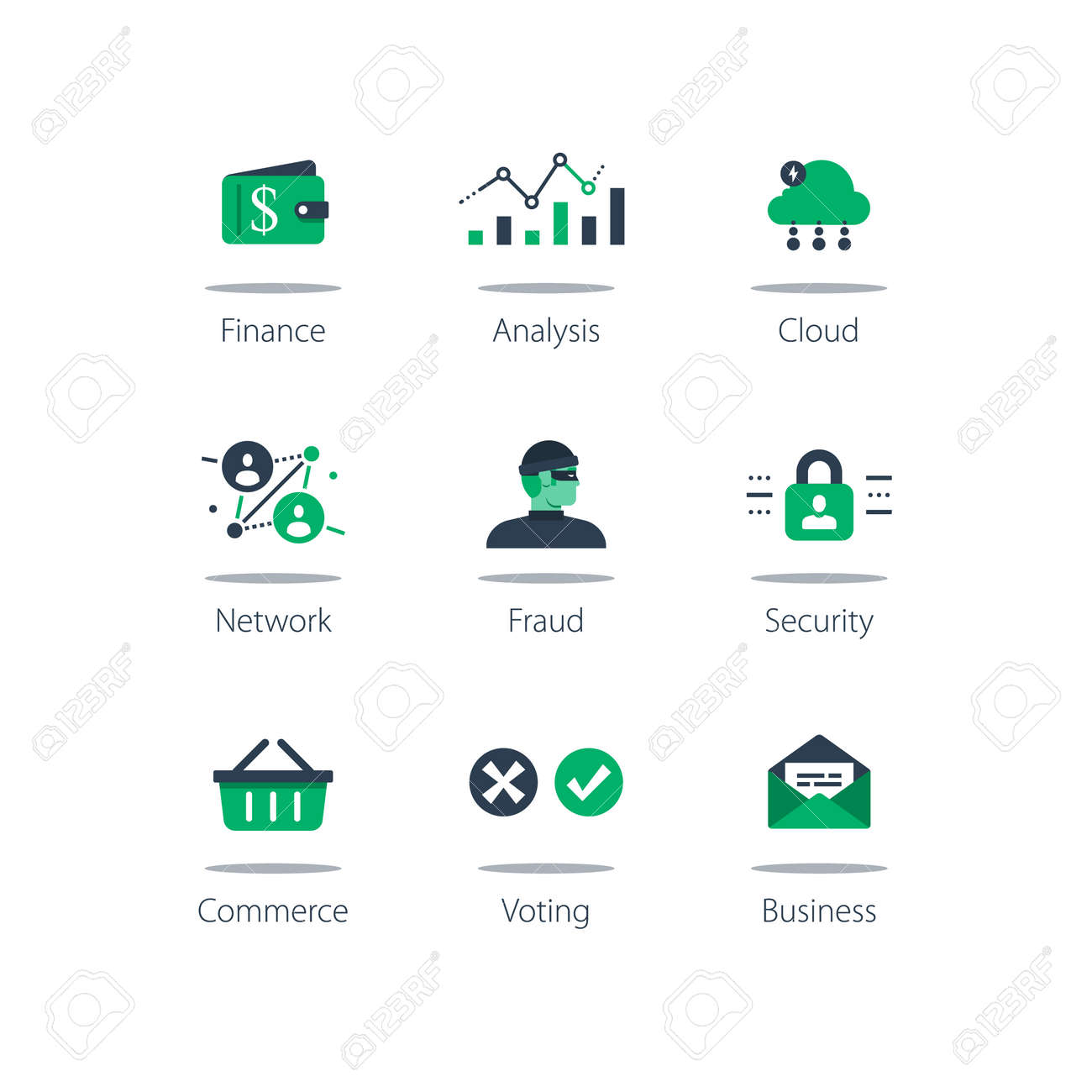 Online finance, data analysis, cloud computing, internet security and shopping basket on computer monitor concept illustration. - 150814052