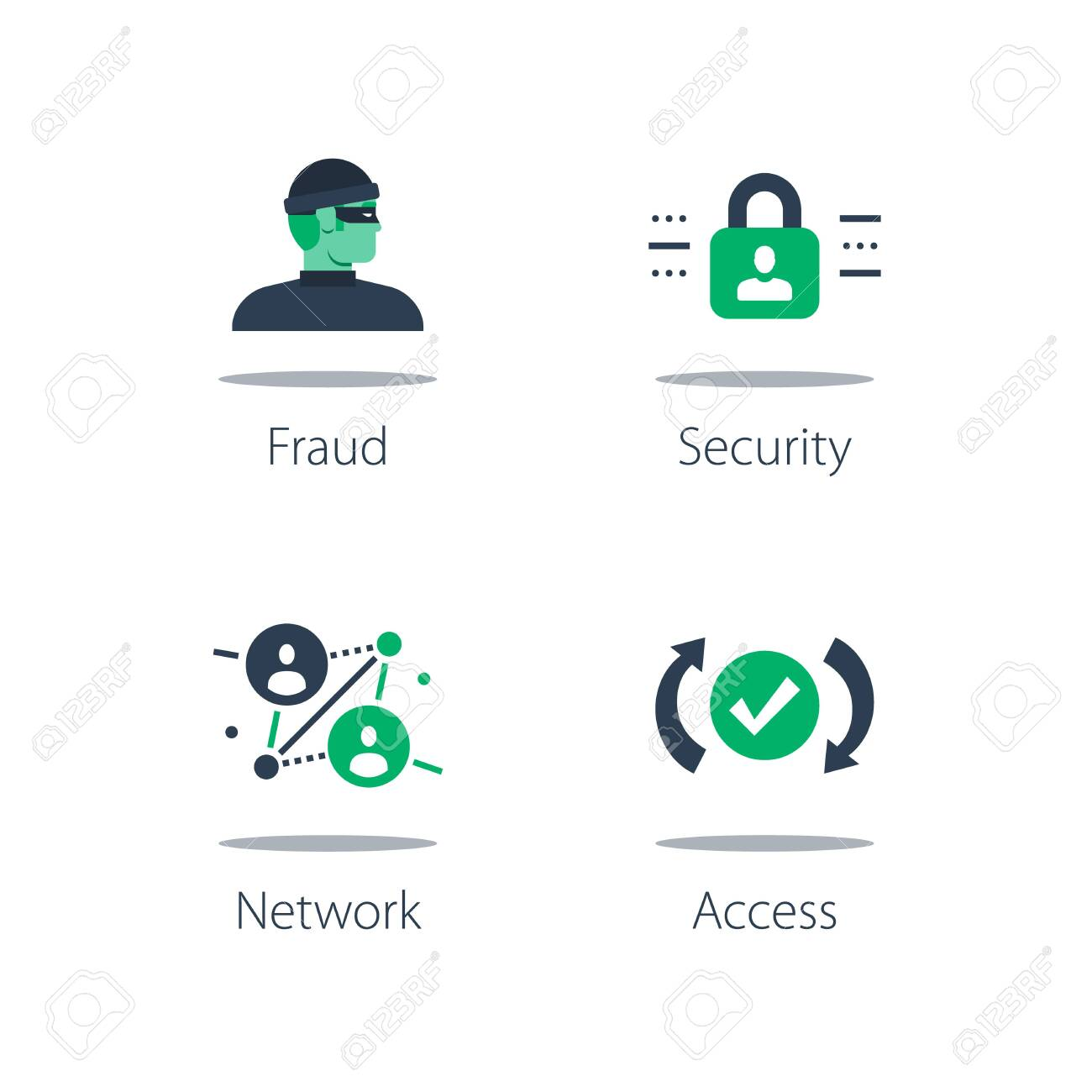 Network security system, online safety, strong protection, web server vulnerability, software solution and data theft concept illustration. - 150814054