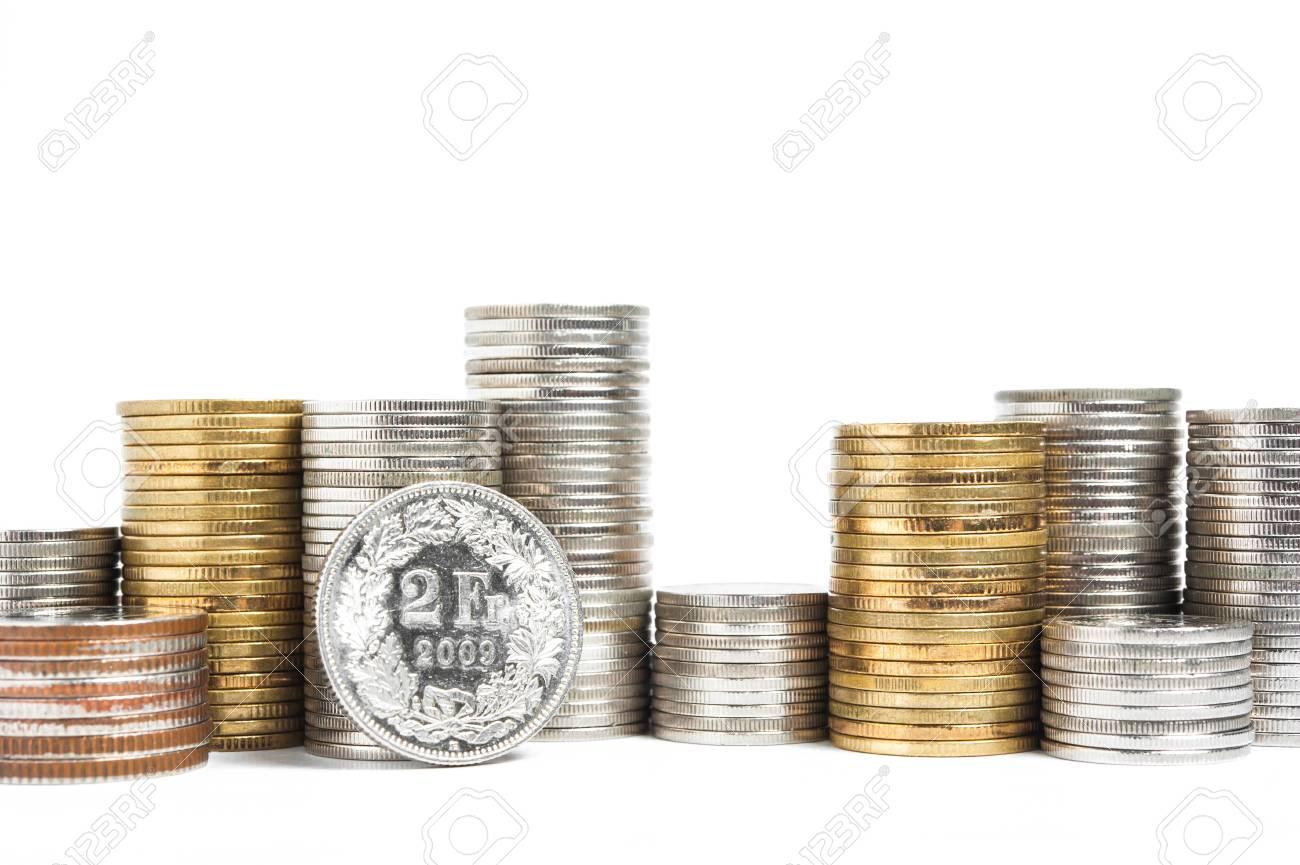 Haufen Von Schweizer Franken Münzen Lizenzfreie Fotos Bilder Und