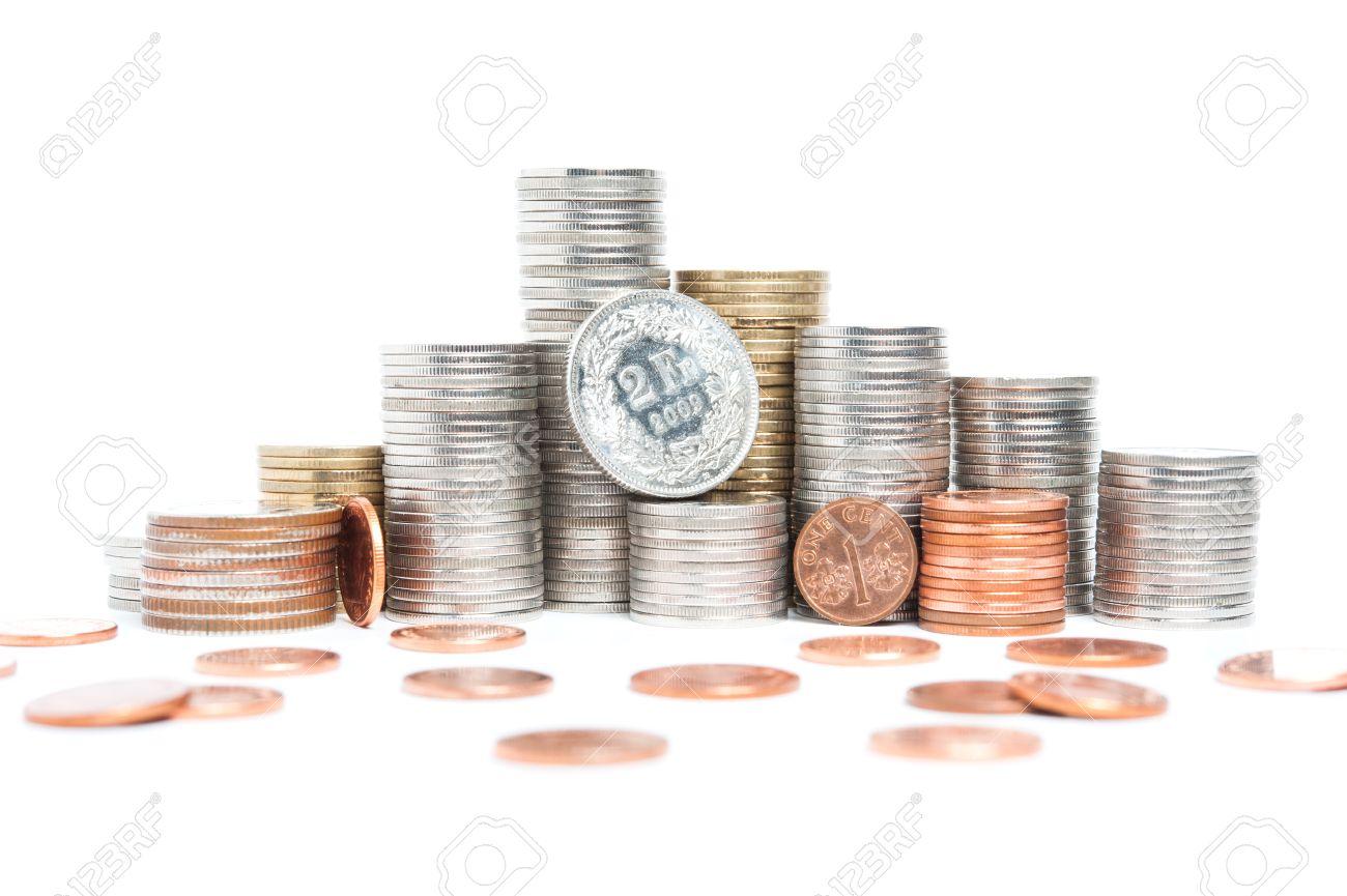 Schweizer Franken Münze Mit Haufen Von Münzen Lizenzfreie Fotos
