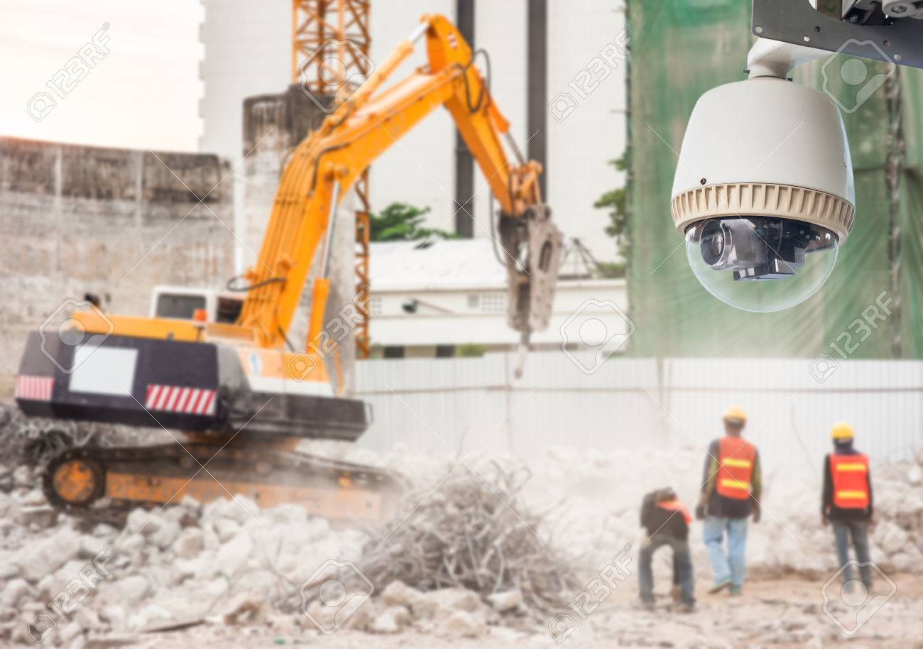 store security images stock pictures royalty store store security cctv camera or surveillance operating in construction site