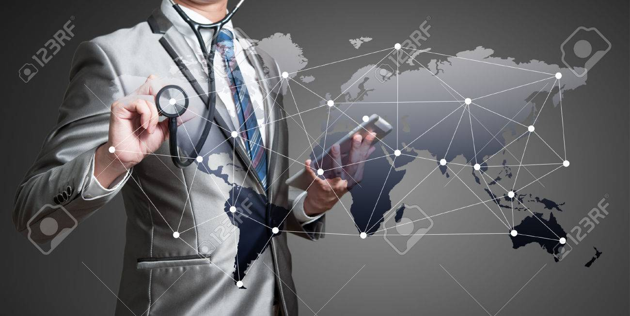 Business man with stethoscope, globalization business concept - 37628832